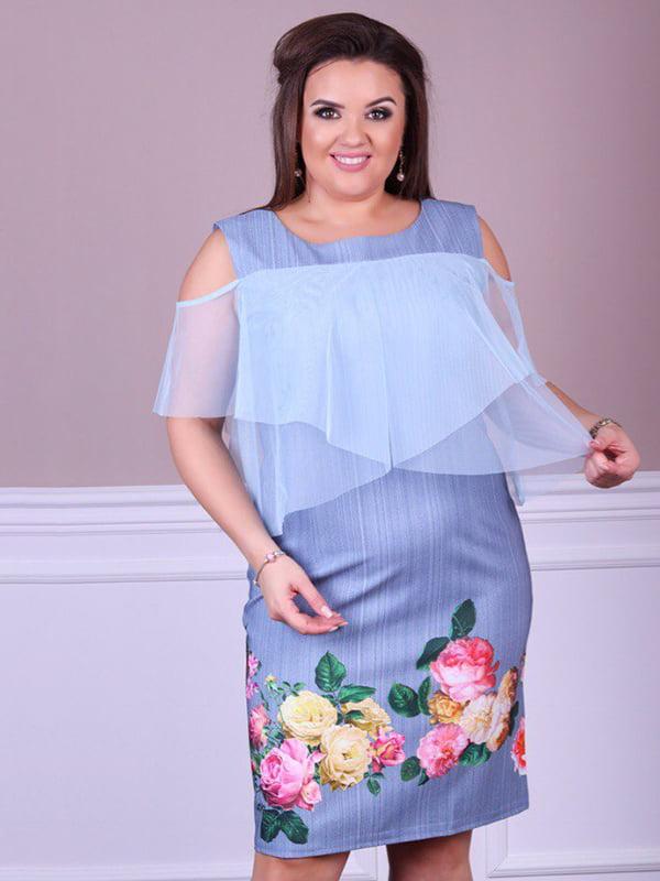 Платье джинсового цвета с принтом | 5447037