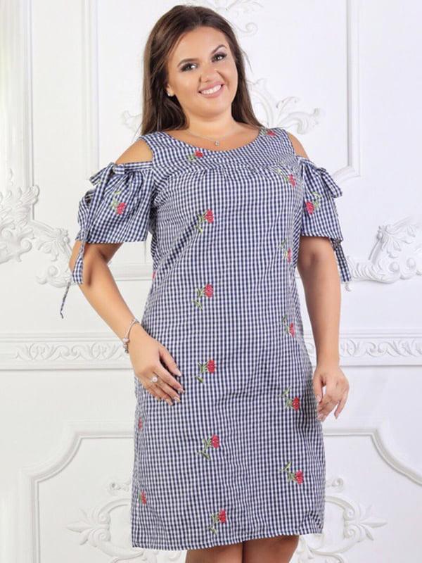 Платье синее с принтом и в клетку | 5447039