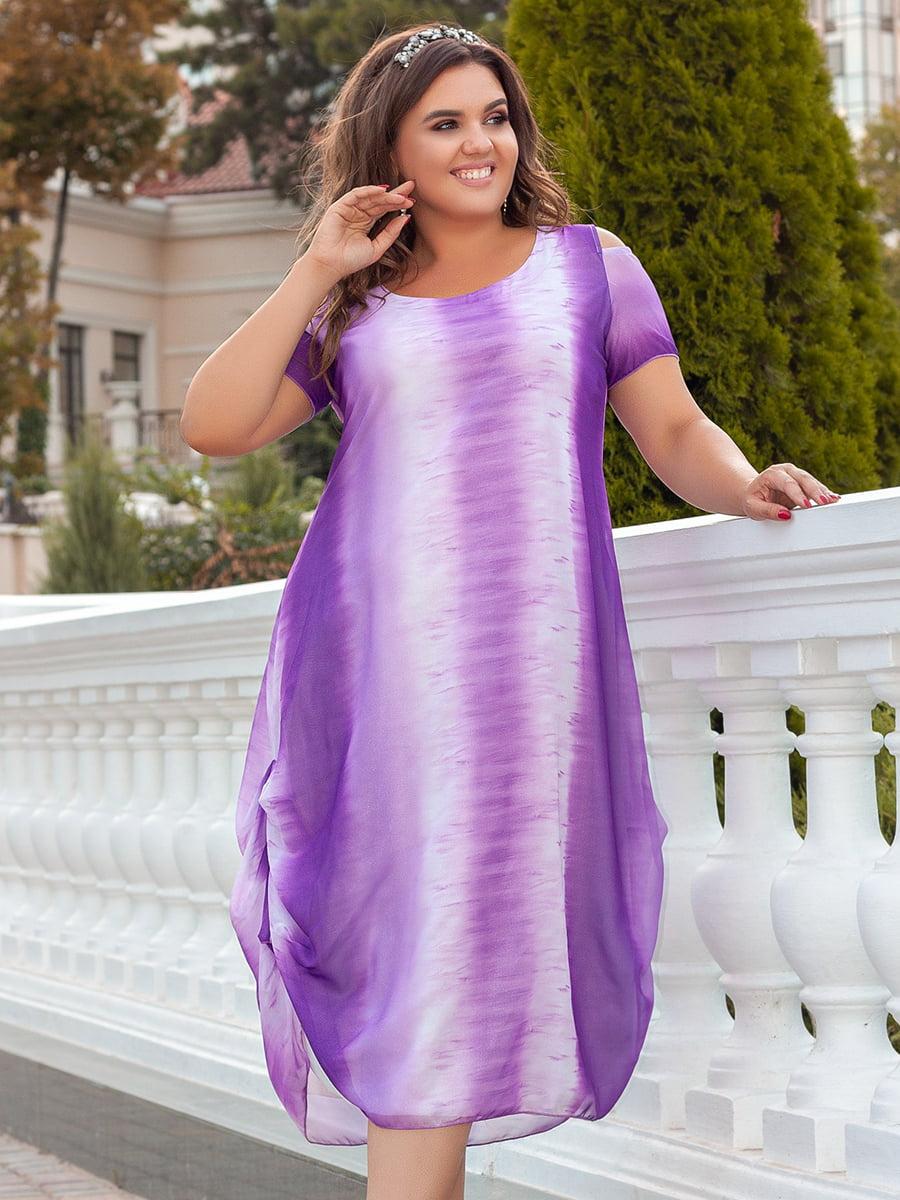 Платье бело-фиолетовое с переливом | 5447046