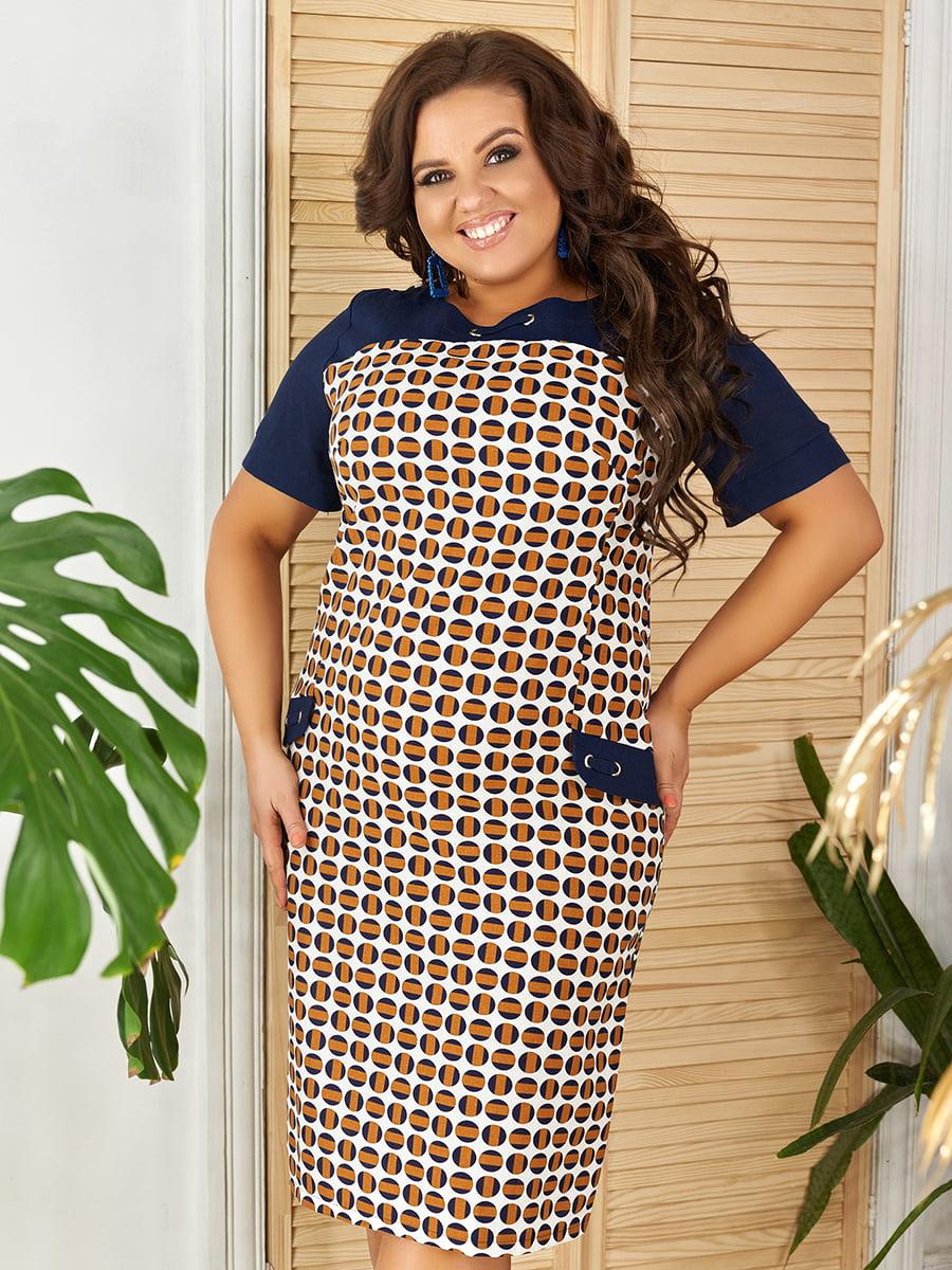 Сукня кавового кольору з принтом | 5447069