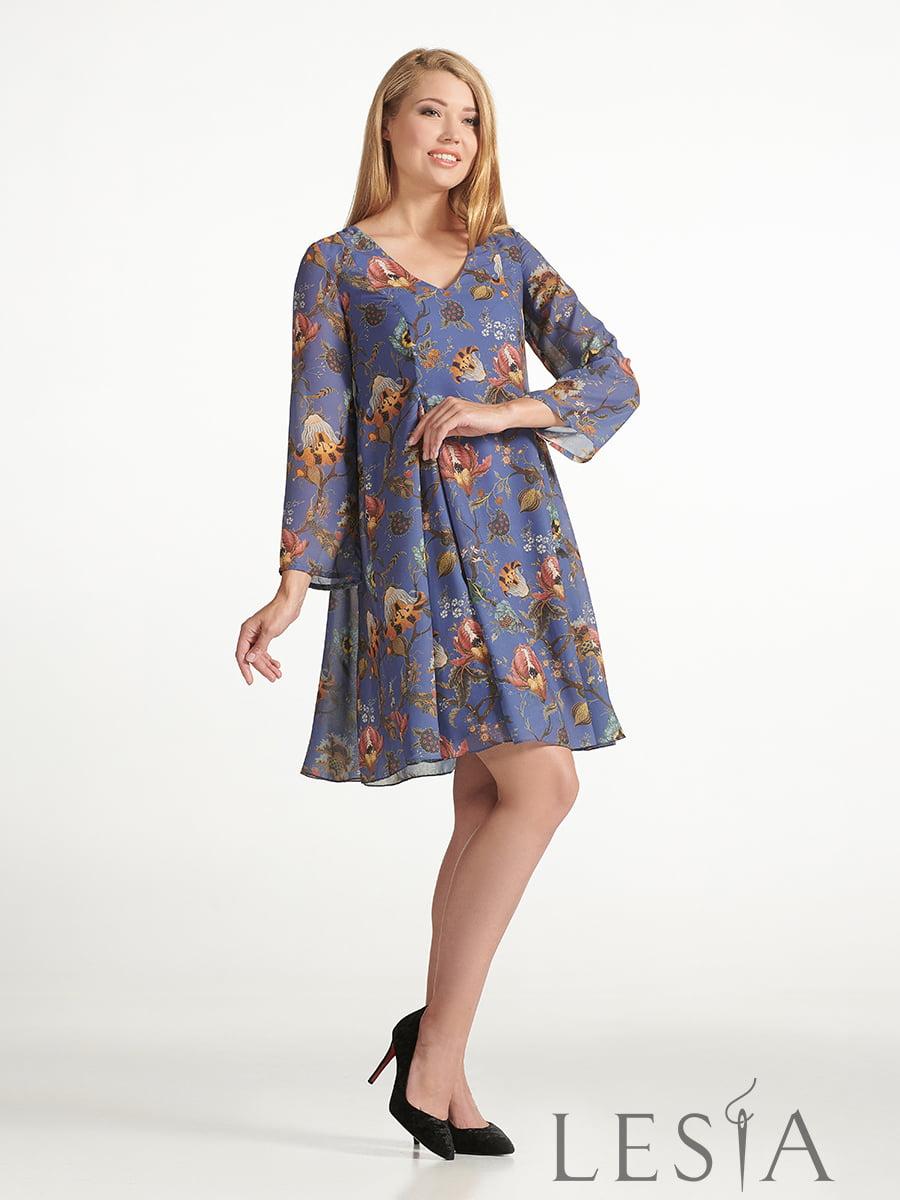 Платье синее с принтом | 5441378