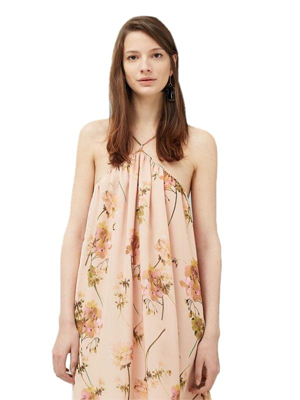Платье бежевое в цветочный принт | 5448479