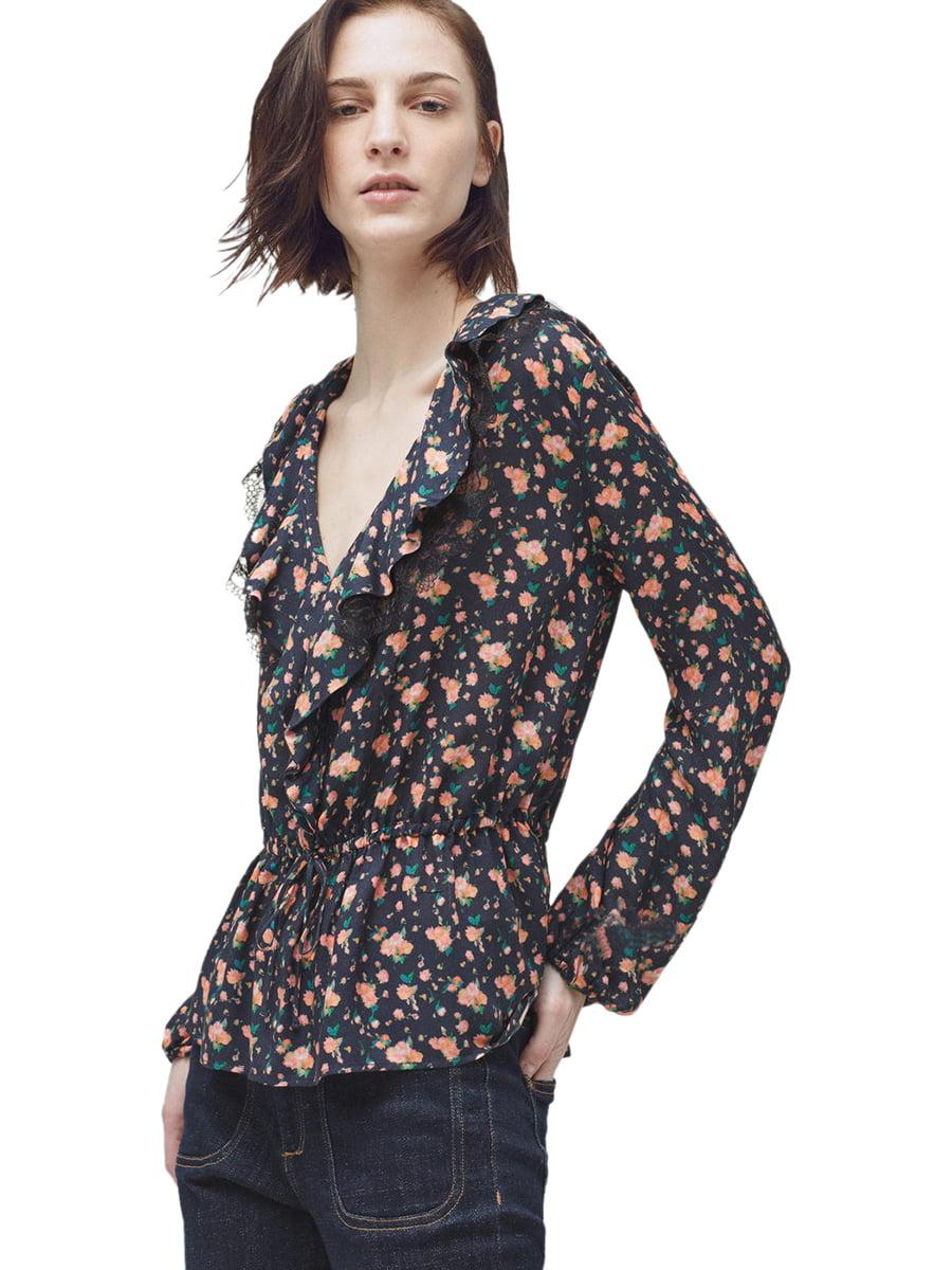 Блуза синяя в цветочный принт | 5448494