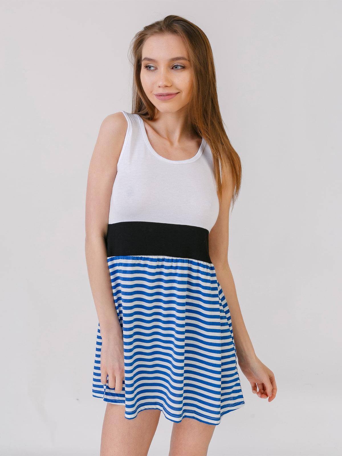 Платье бело-синее в полоску | 5441562