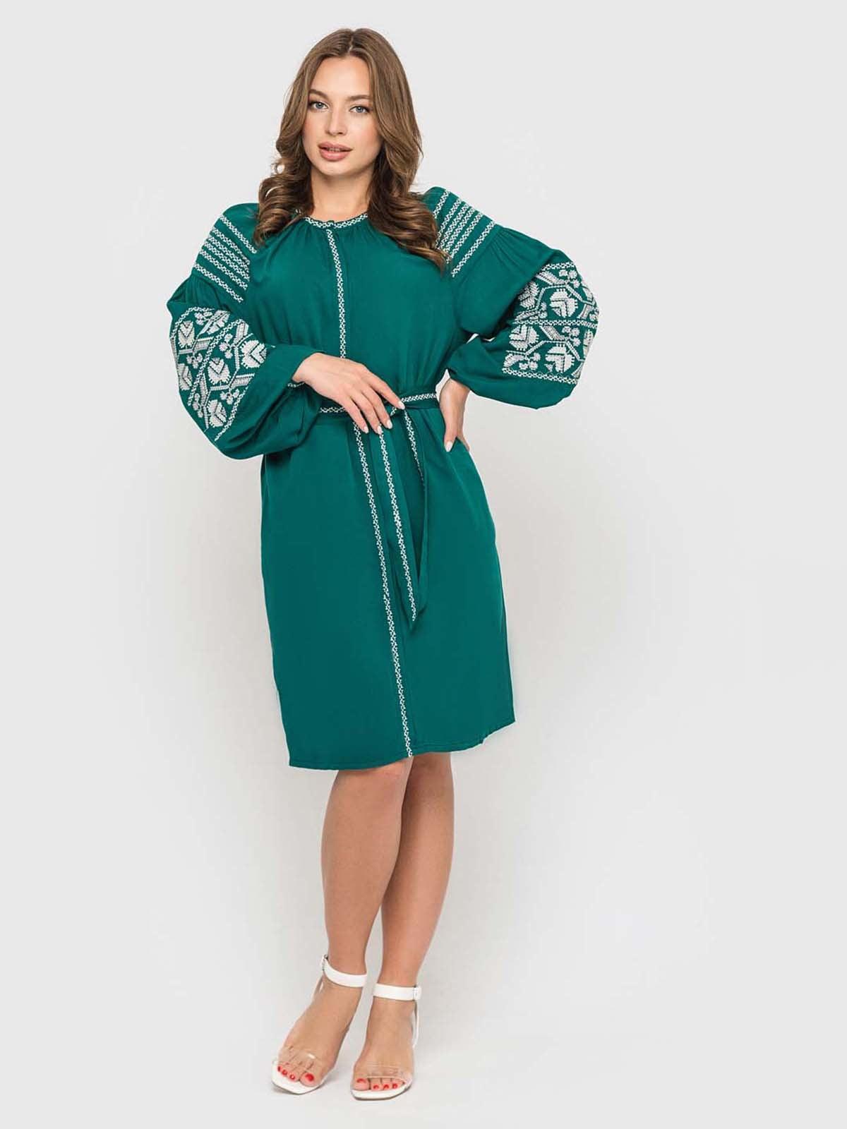 Сукня смарагдового кольору з вишивкою | 5447834