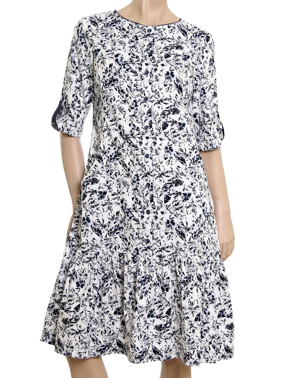 Платье черное-белое в принт | 5455431