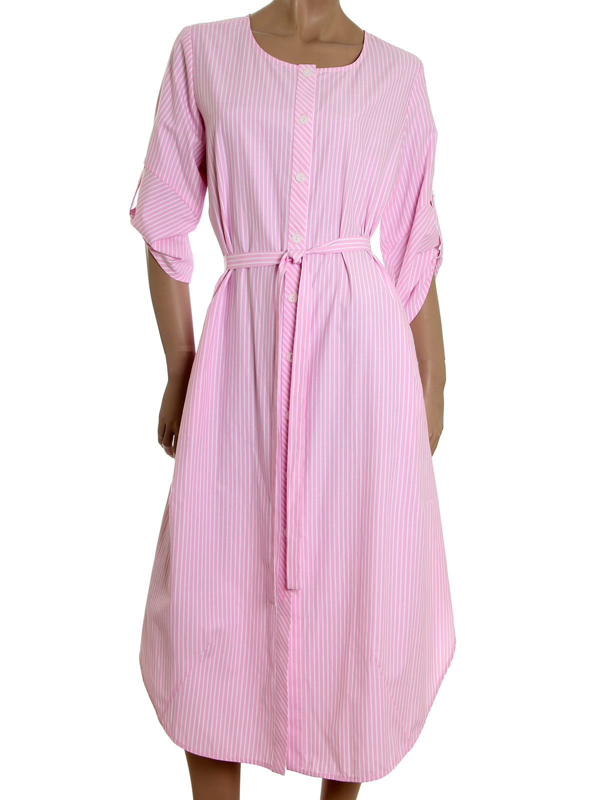 Платье розовое в полоску | 5455435