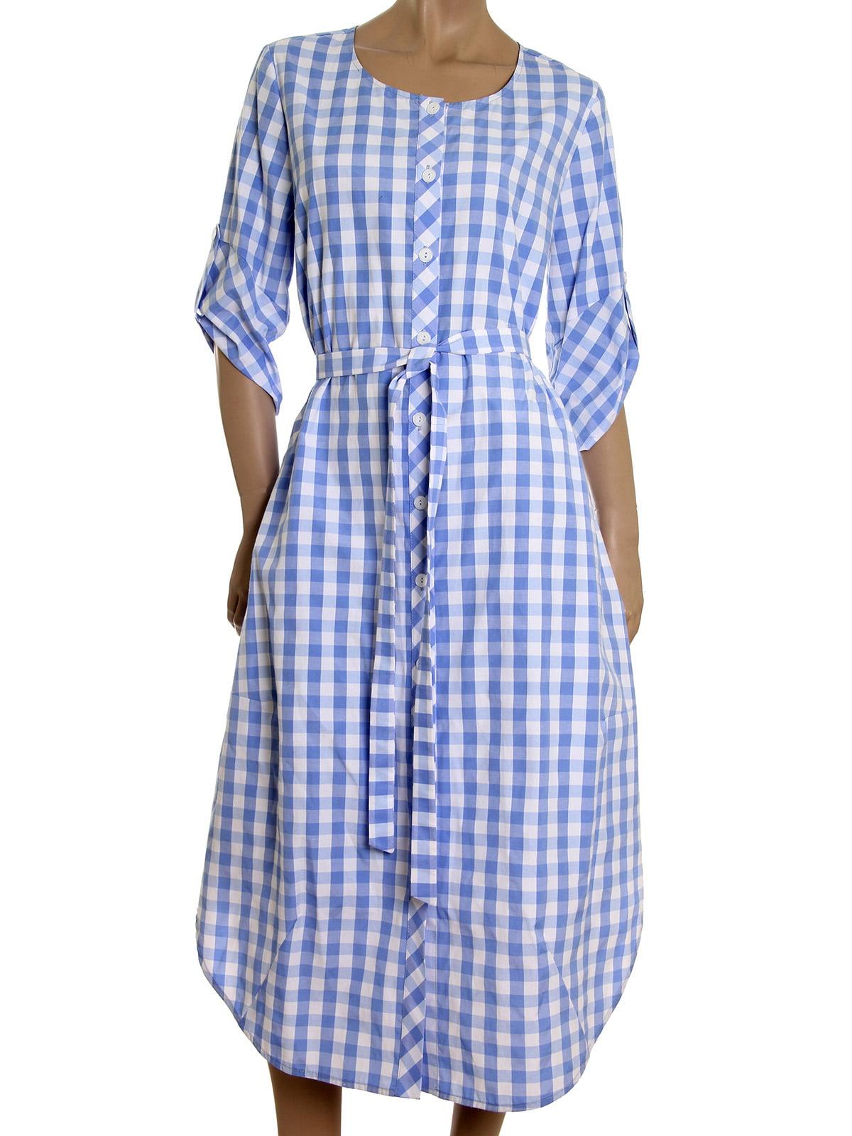 Платье голубое в клетку | 5455436