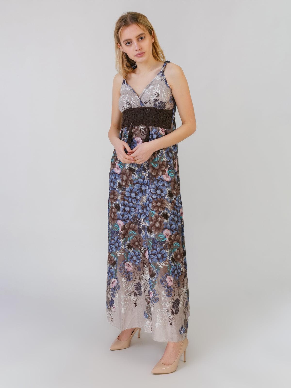 Сарафан сине-серый с цветочным принтом | 5452117