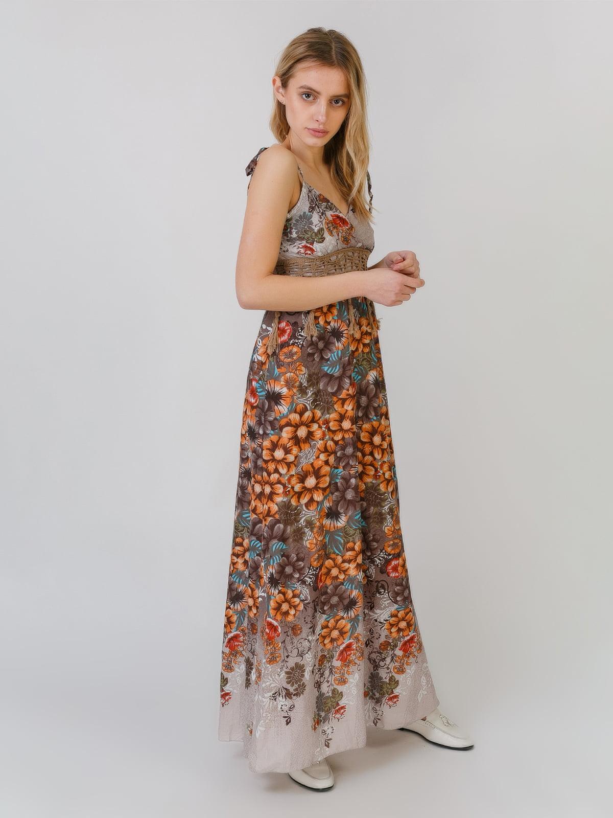 Сарафан коричнево-оранжевый с принтом | 5452116