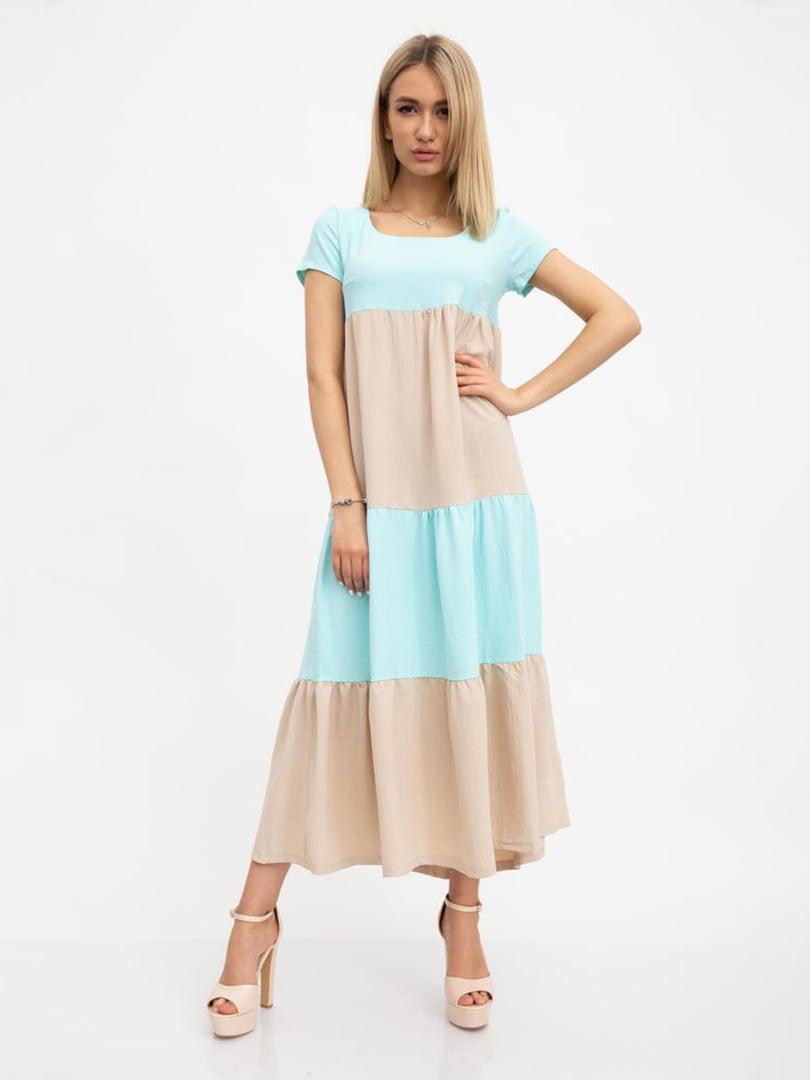 Платье зелено-бежевое | 5456587