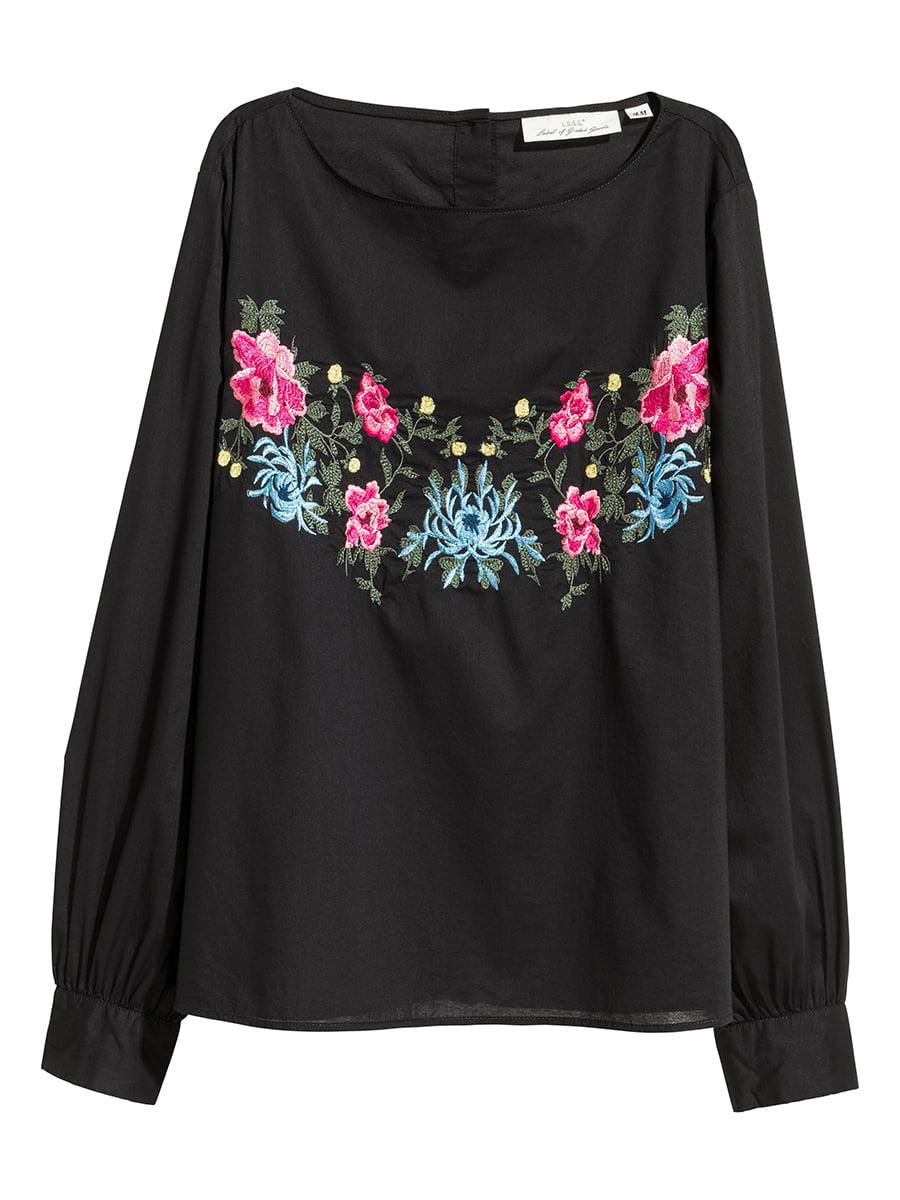 Блуза черная с цветочной вышивкой   5402127