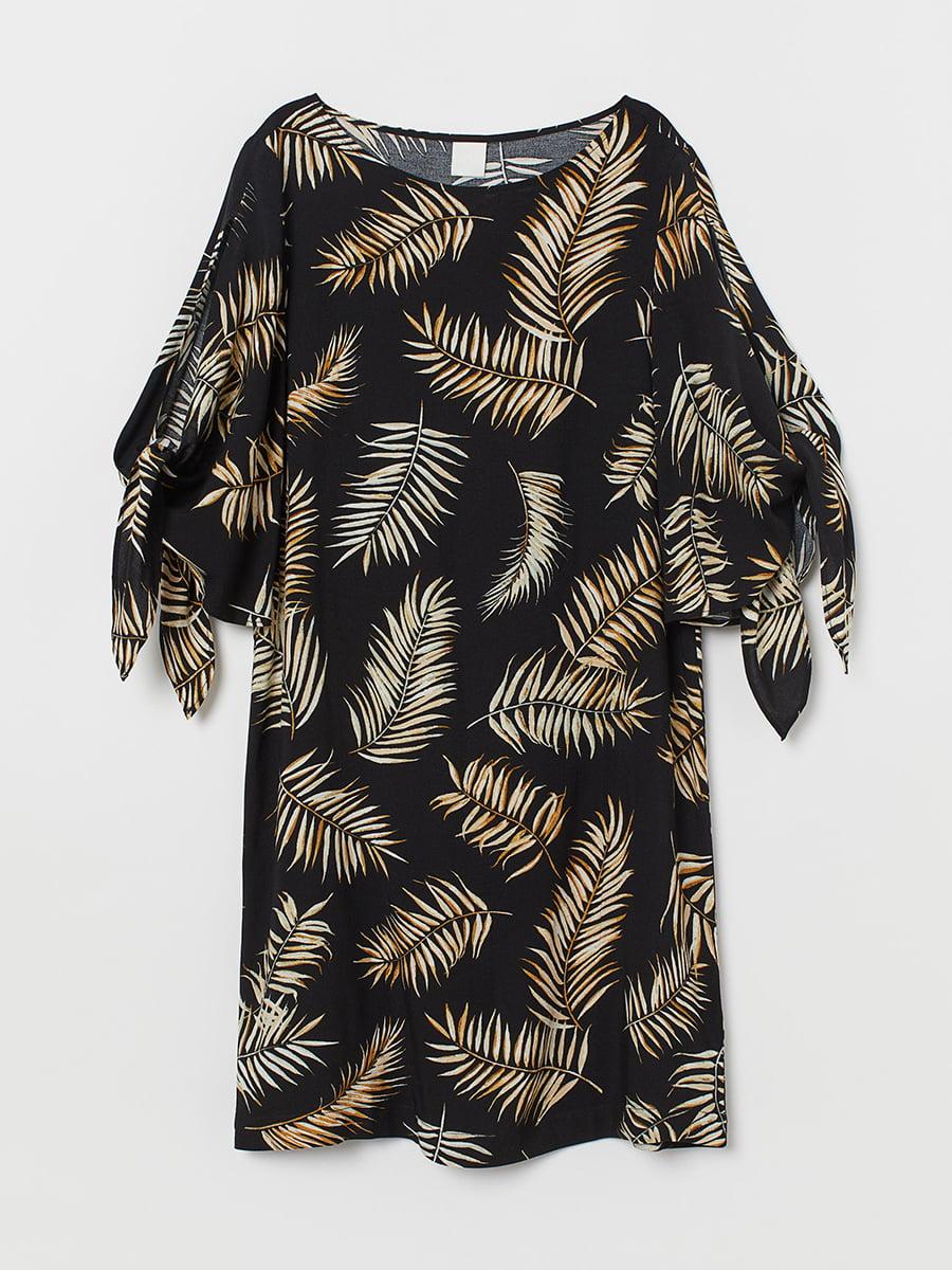 Платье черное в принт | 5450290