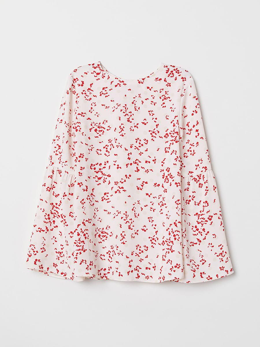 Блуза белая в цветочный принт | 5450298