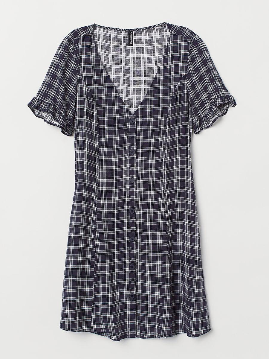 Платье бело-синее в клетку   5450424