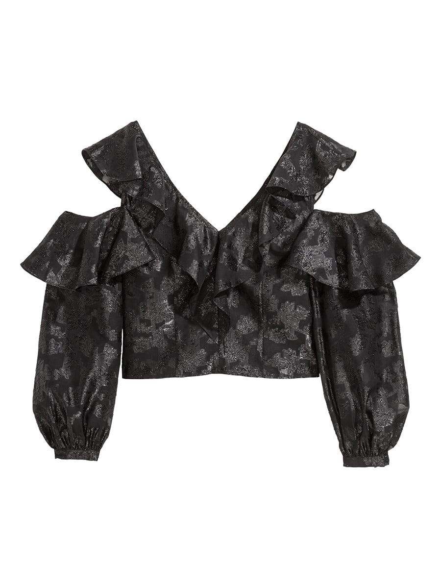 Блуза черная в принт | 5457039