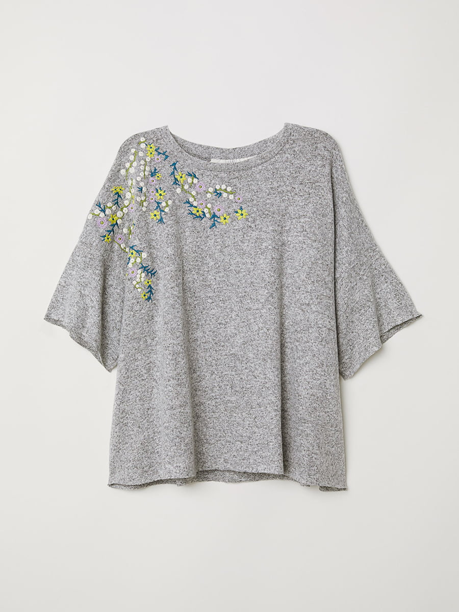 Джемпер серый с цветочной вышивкой | 5457075