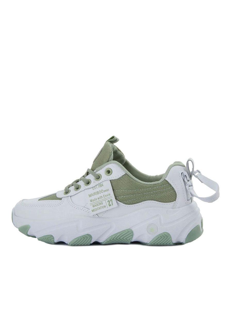 Кроссовки бело-зеленые | 5458699
