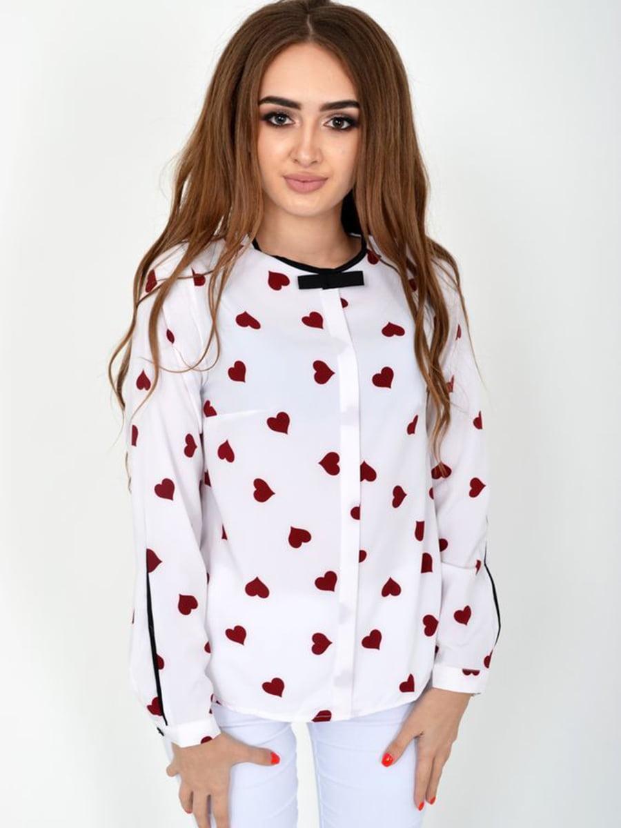 Блуза белая в принт | 5461659