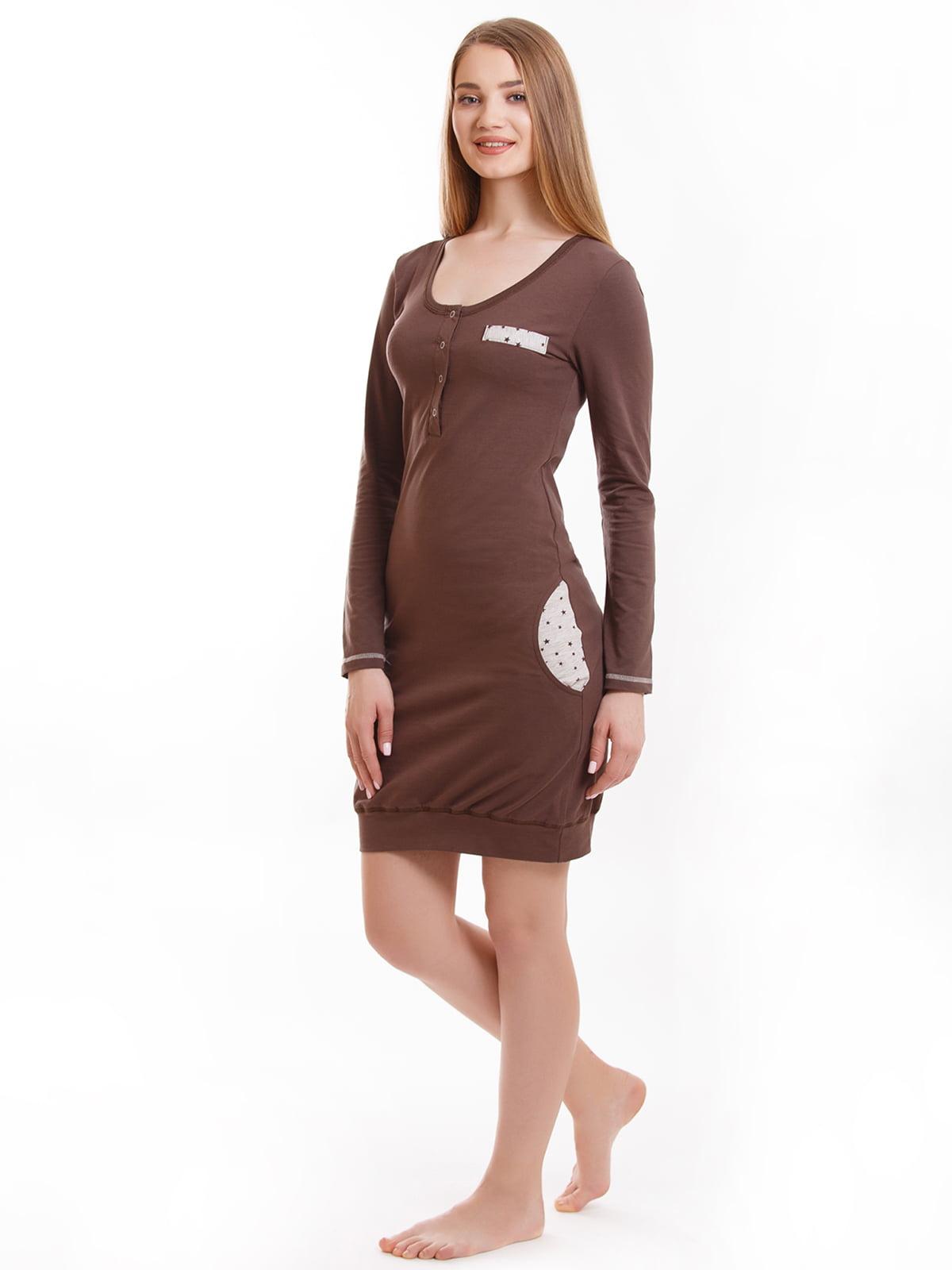 Рубашка ночная коричневая | 5462086