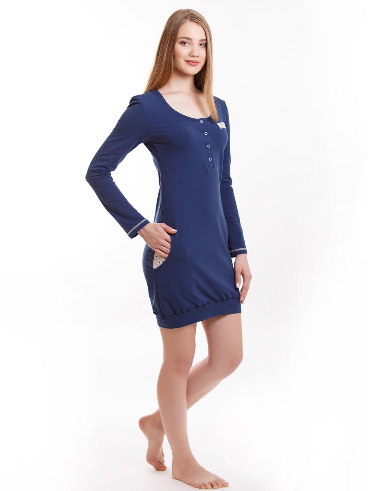 Рубашка ночная синяя | 5462087