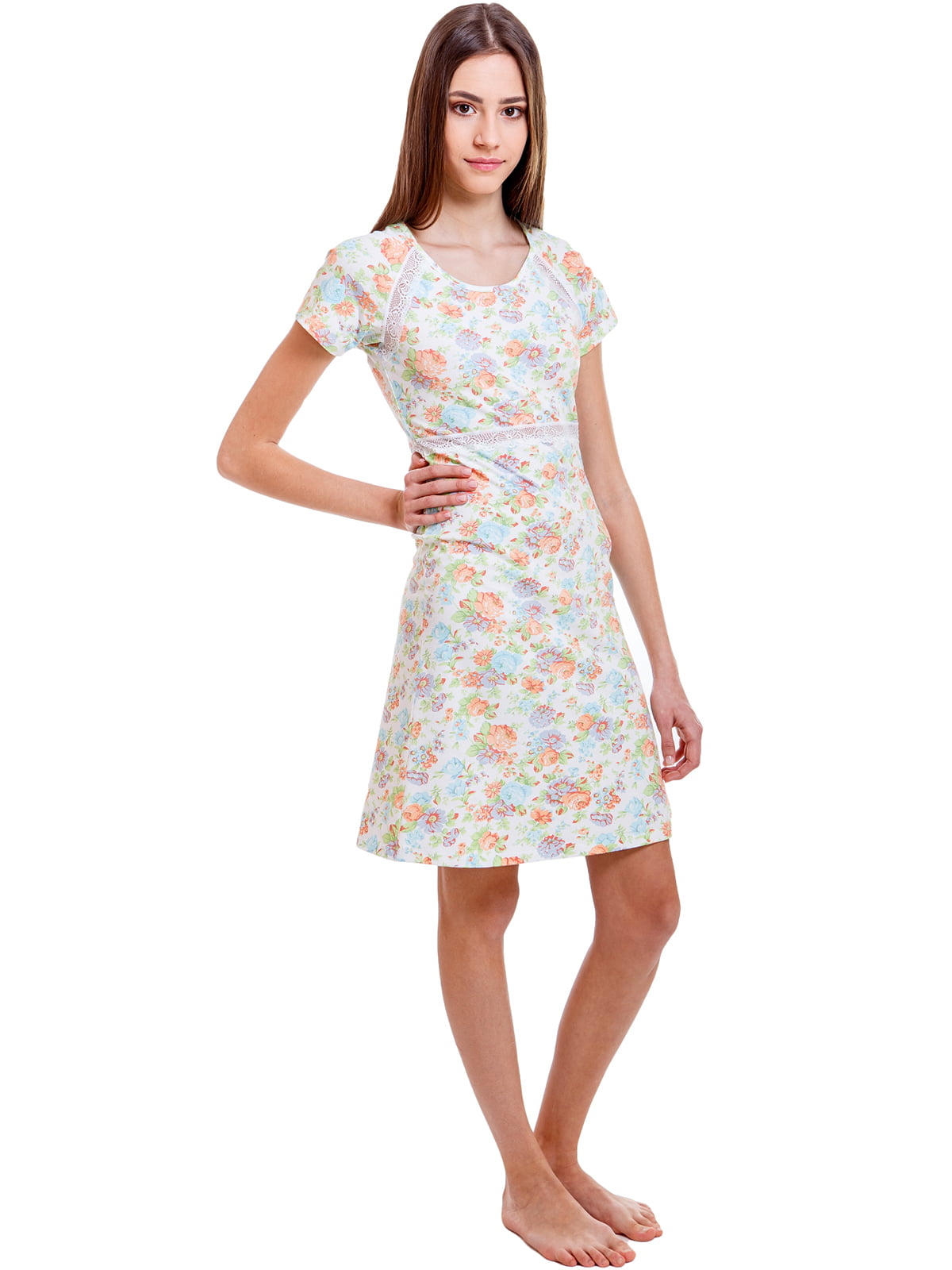 Рубашка ночная молочного цвета в цветочный принт   5462107