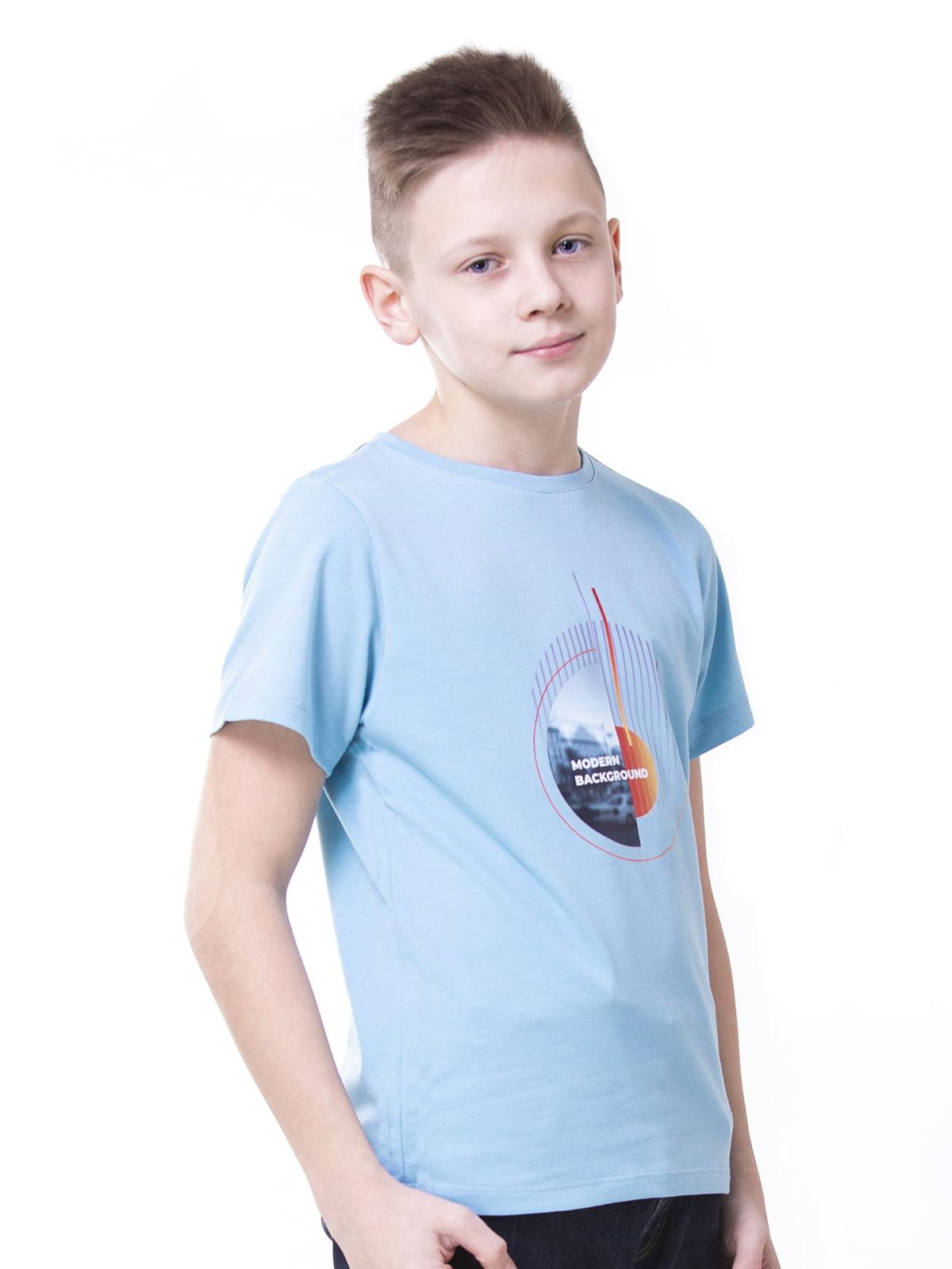 Футболка голубая с принтом | 5462117