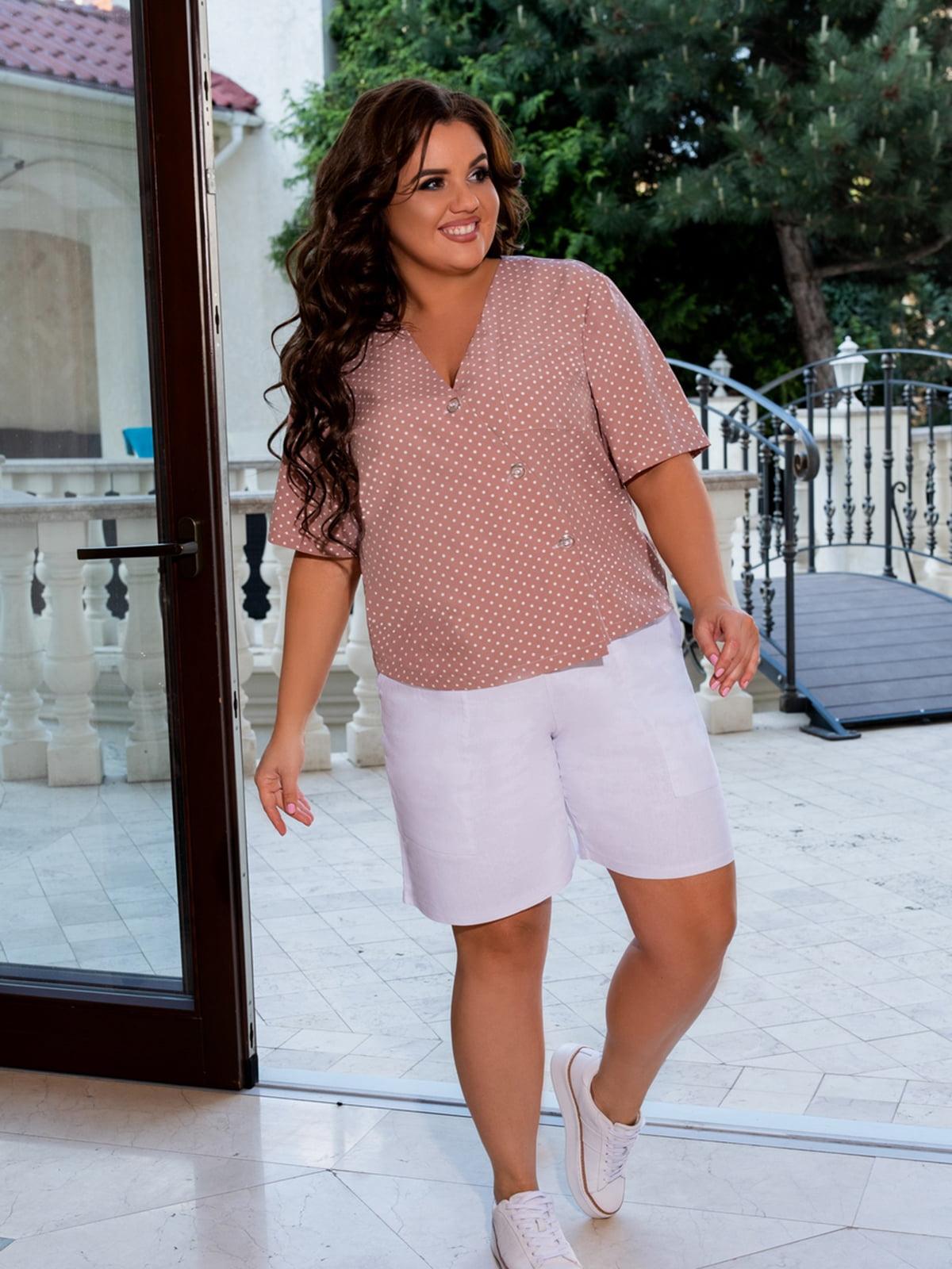 Блуза пудрового кольору в горошок | 5464233