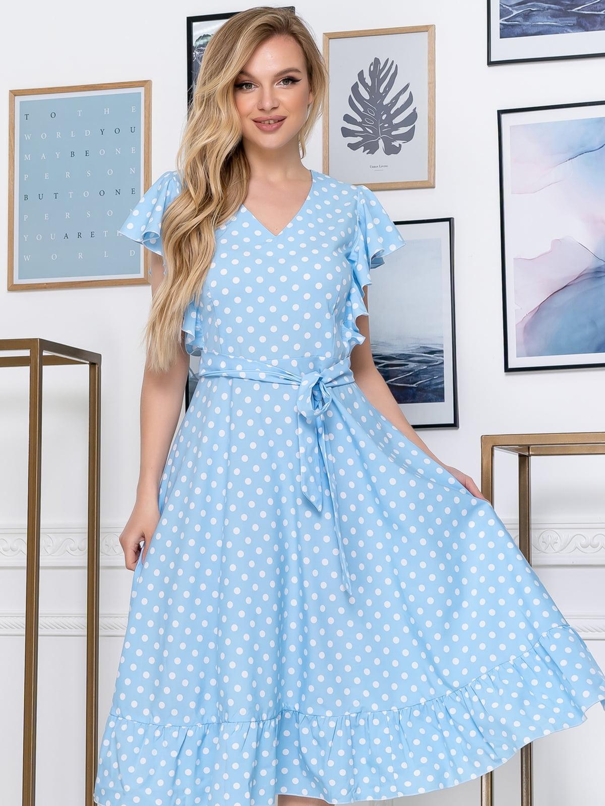 Сукня блакитного кольору в горох | 5464436