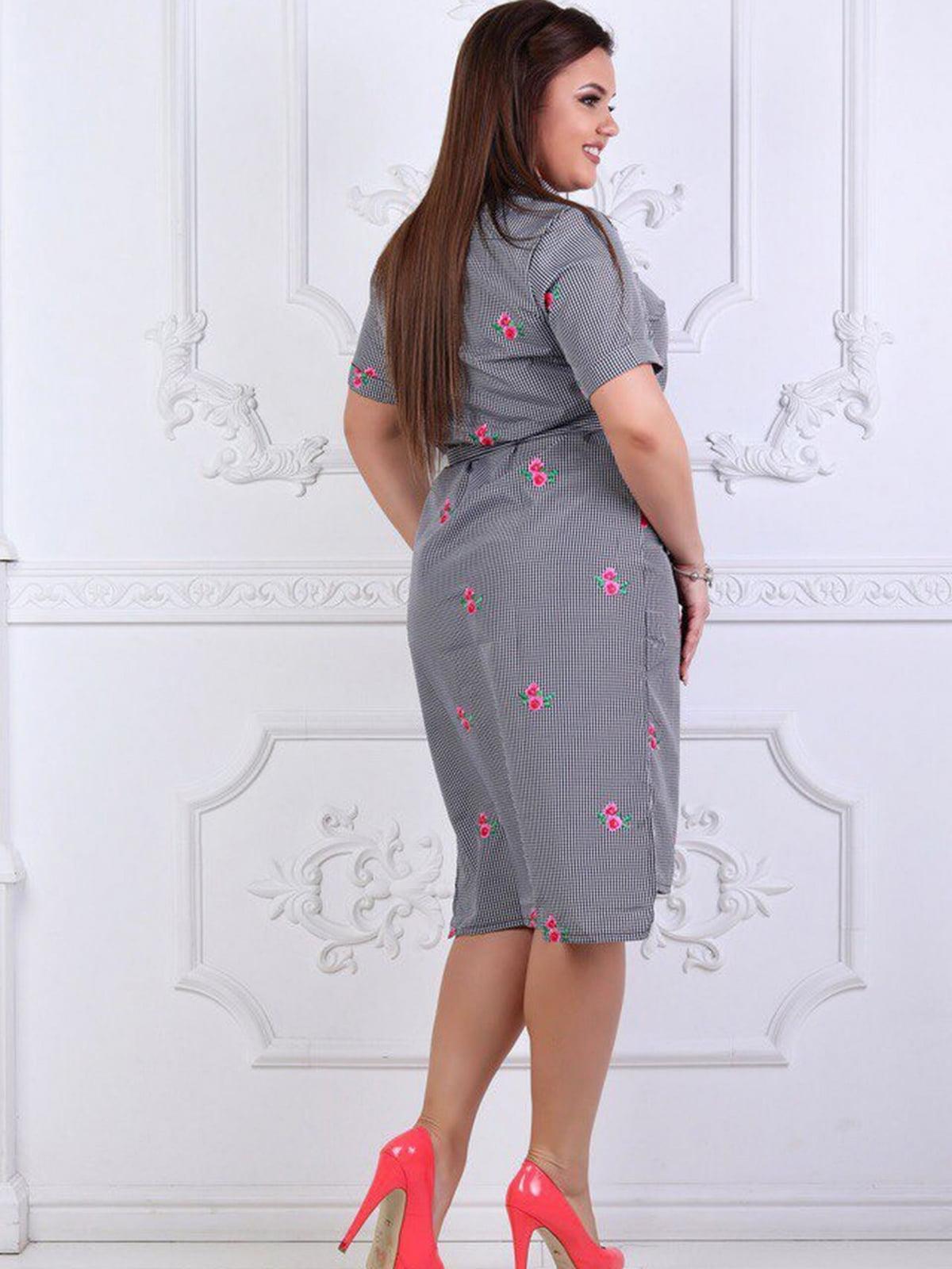 Сукня сіра в квітковий принт | 5464124