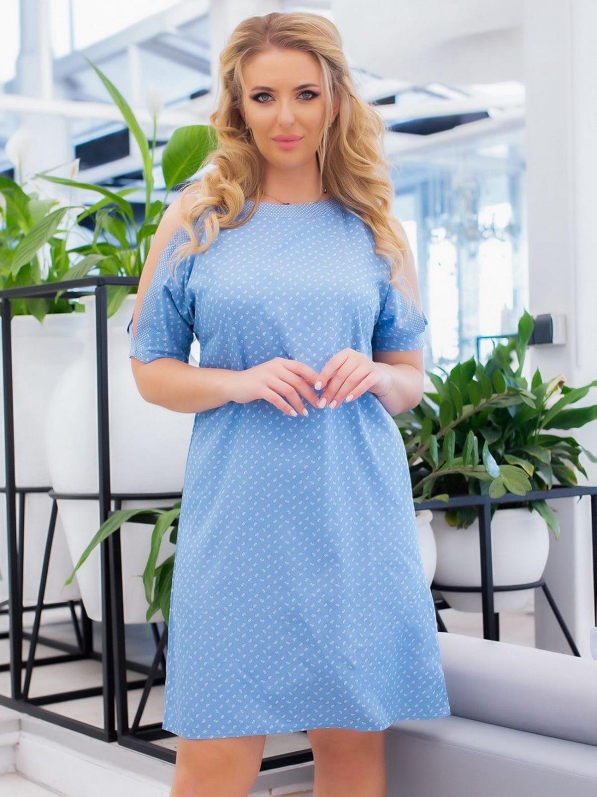 Сукня блакитна в принт | 5464126