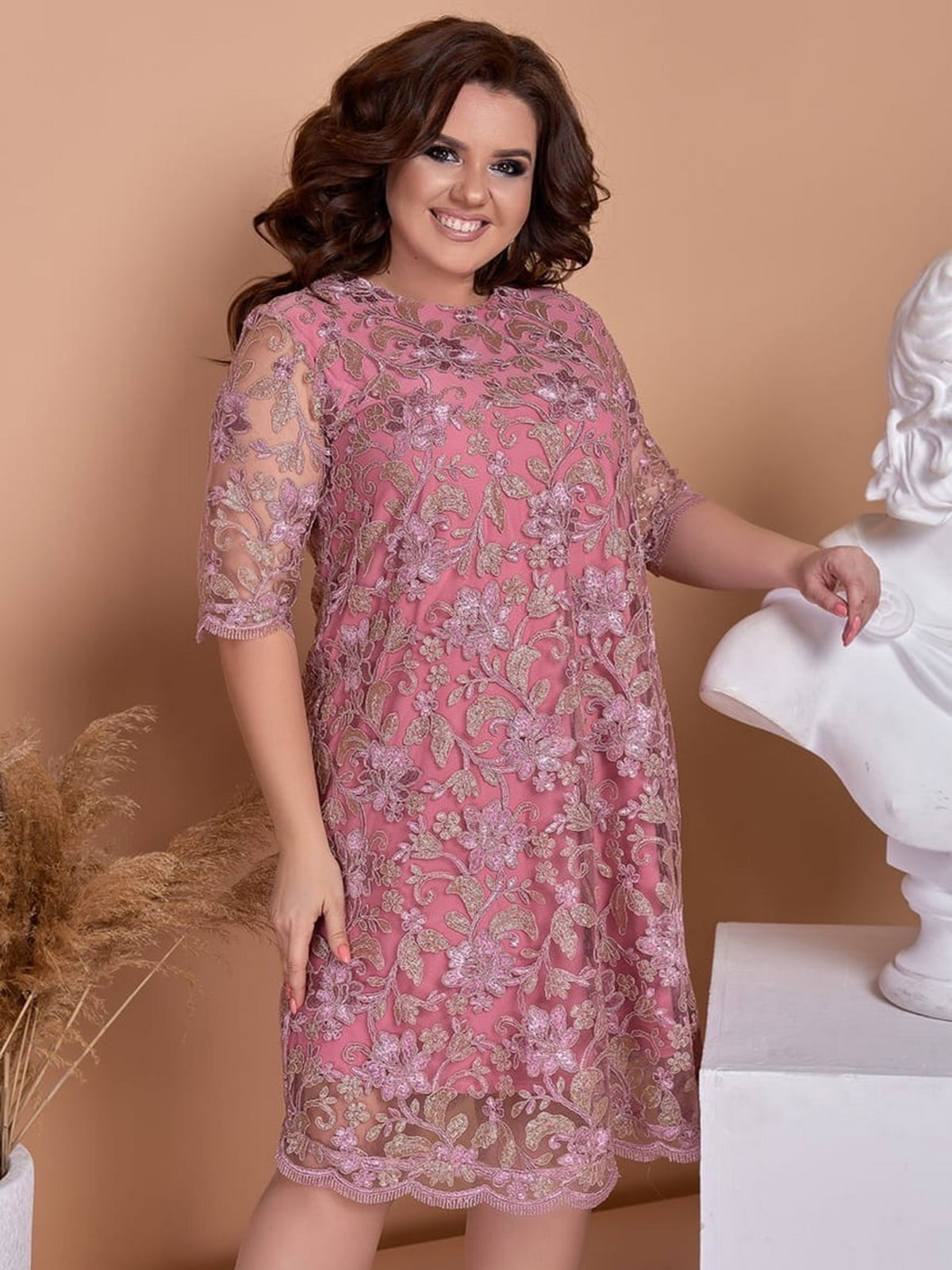 Сукня кольору фрезії з декором | 5464144