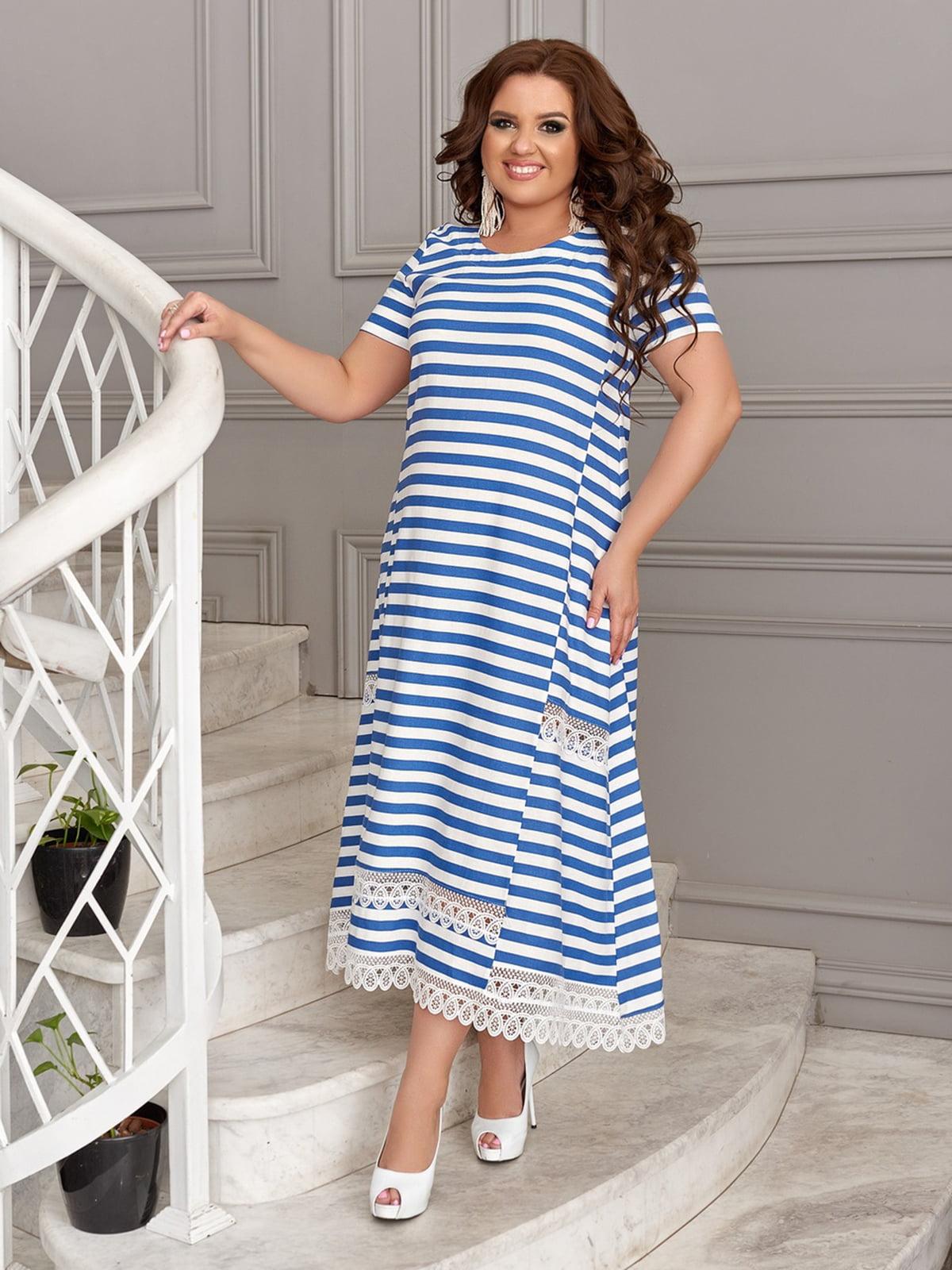 Платье синее в полоску | 5464153