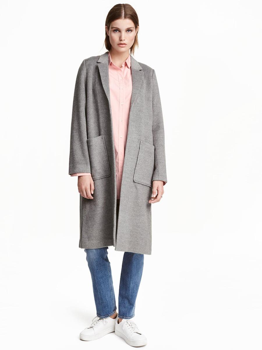 Пальто фетровое серое | 5471765