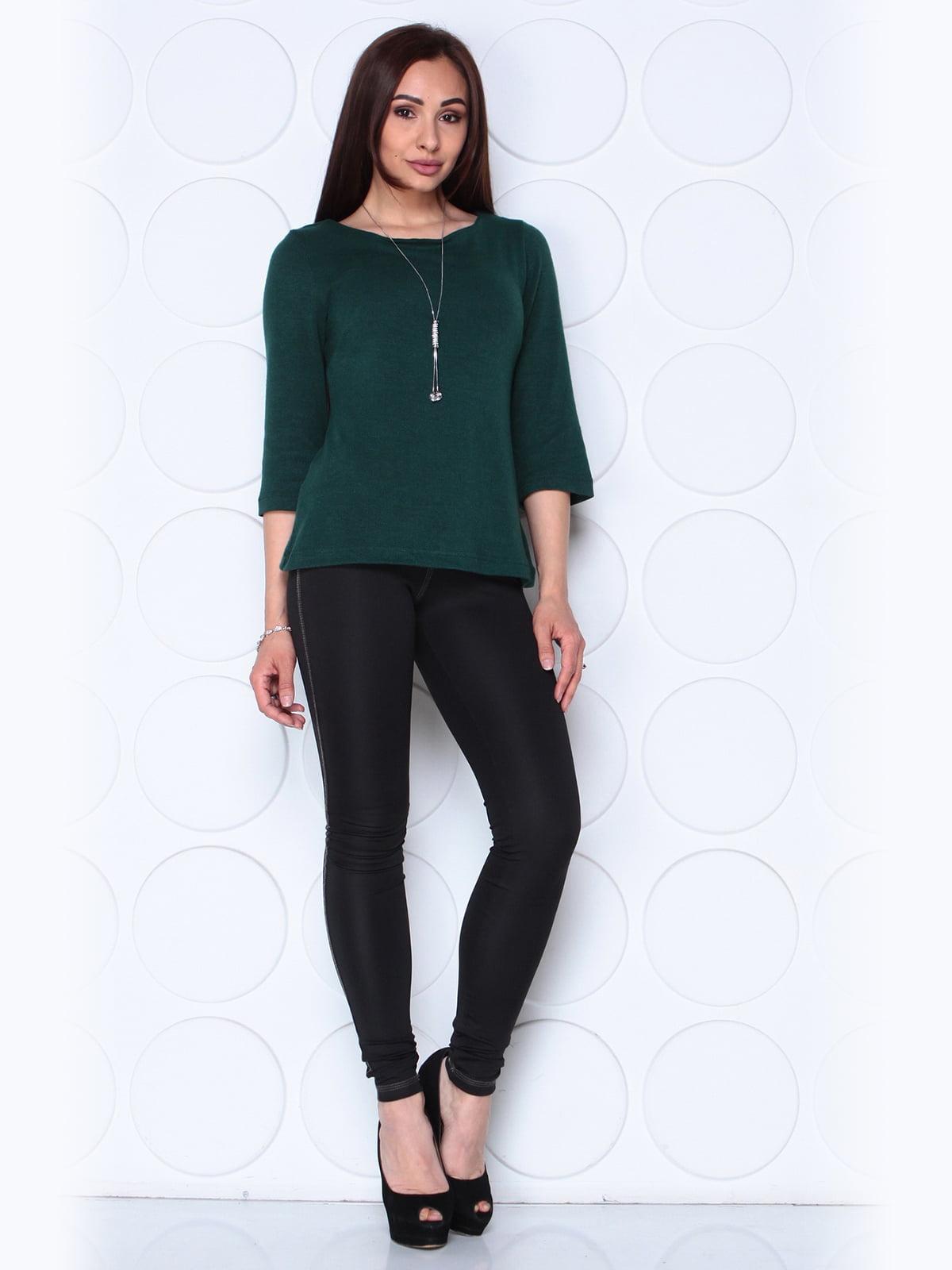 Блуза темно-изумрудного цвета с рукавом 3/4   5436546