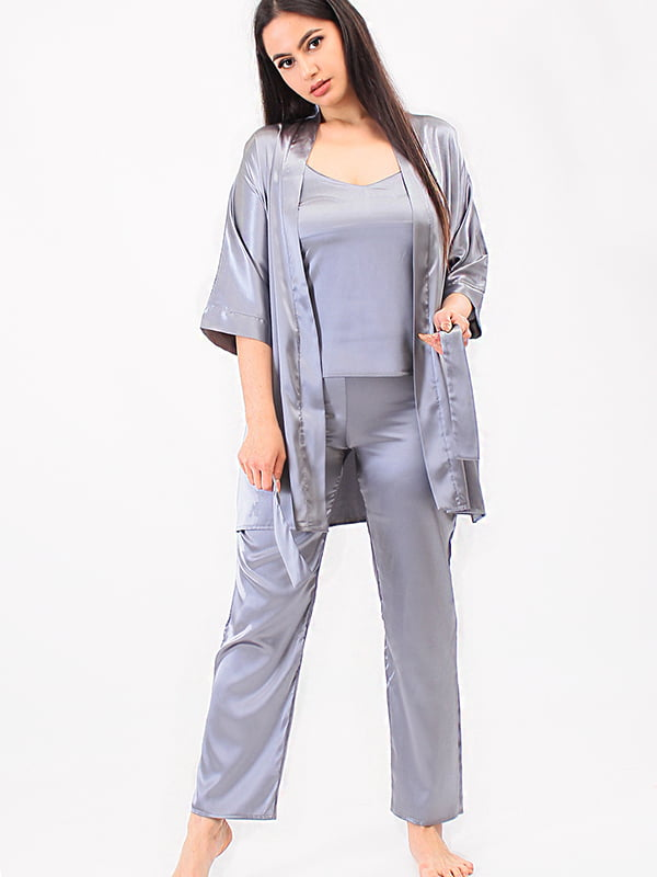 Піжама: топ, халат та штани | 5473450