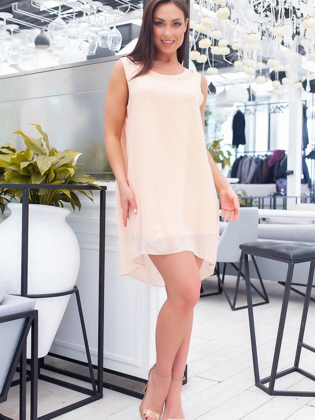 Платье персикового цвета с декором | 5464402