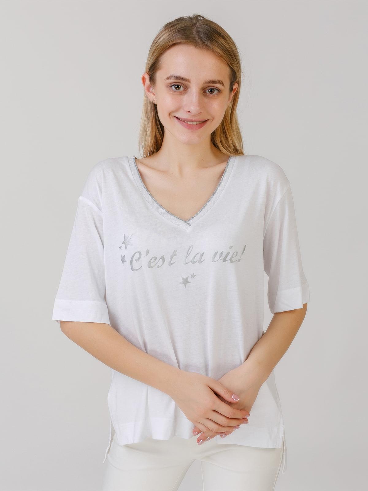 Блуза белая с надписью | 5464586