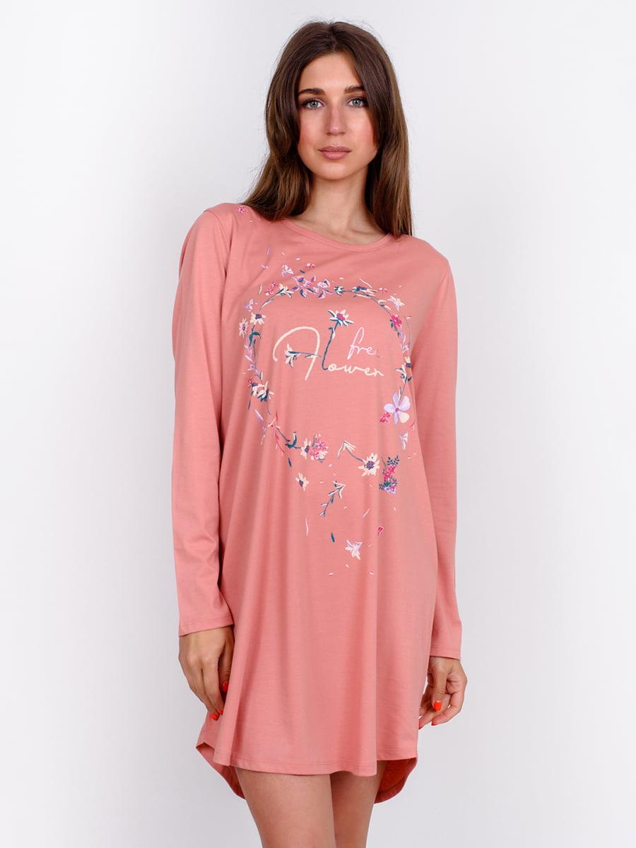 Рубашка ночная кораллового цвета с принтом | 5475728