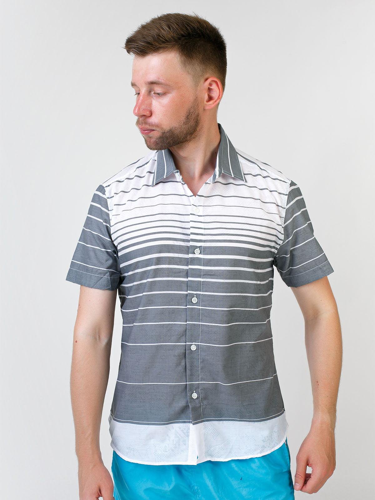 Рубашка двухцветная в полоску | 5474674