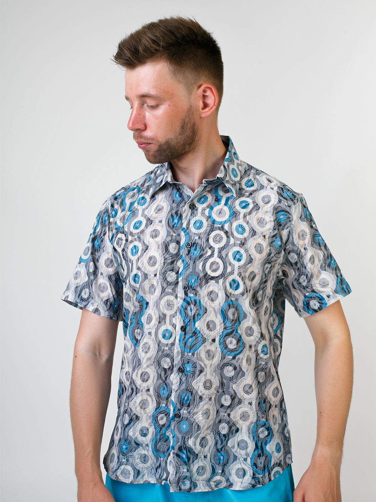 Рубашка бирюзового цвета в принт   5474702