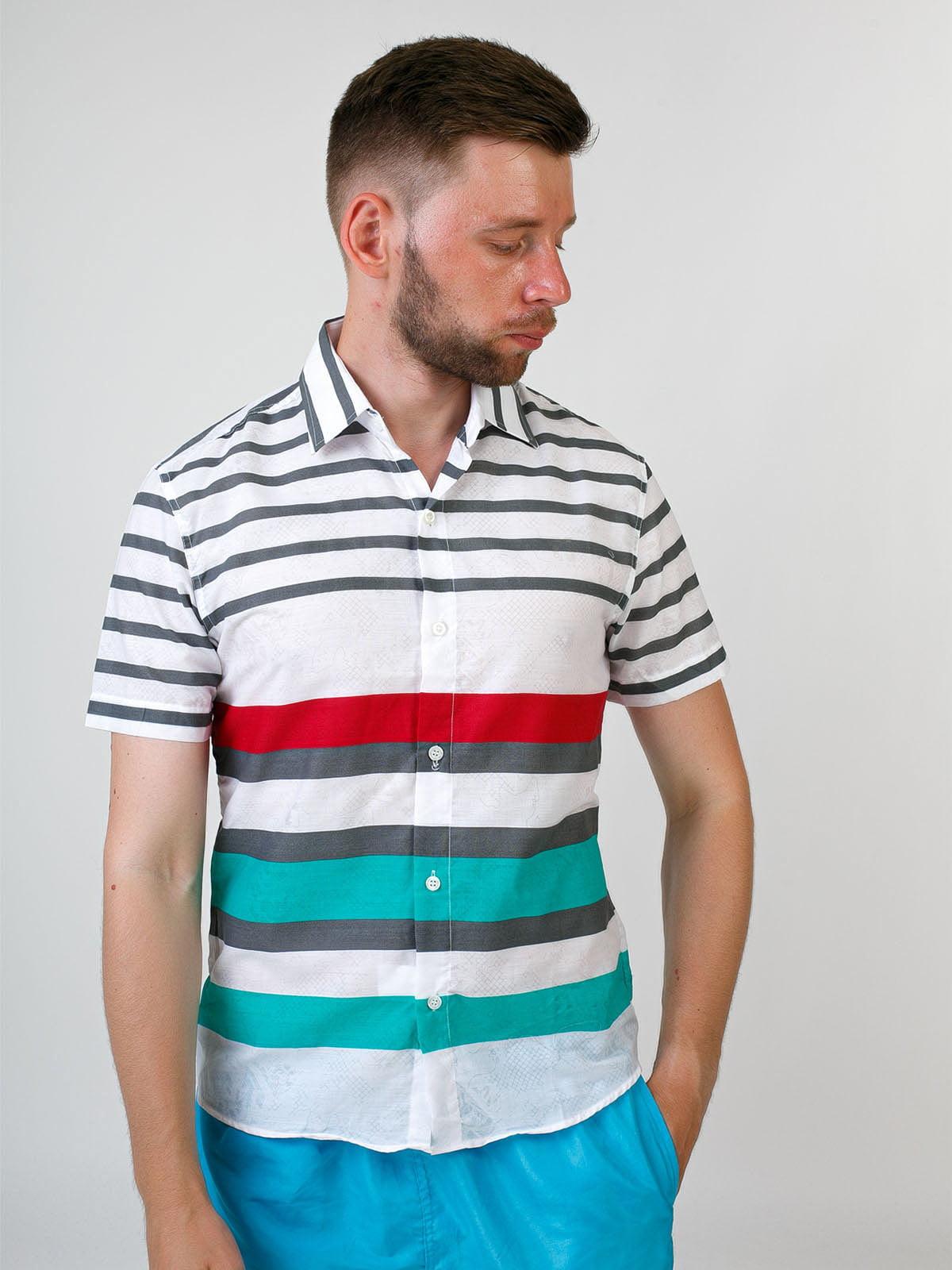 Рубашка белая в полоску | 5474668