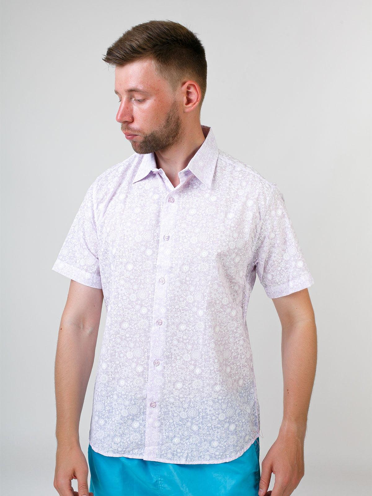Сорочка бузкового кольору в принт | 5474699