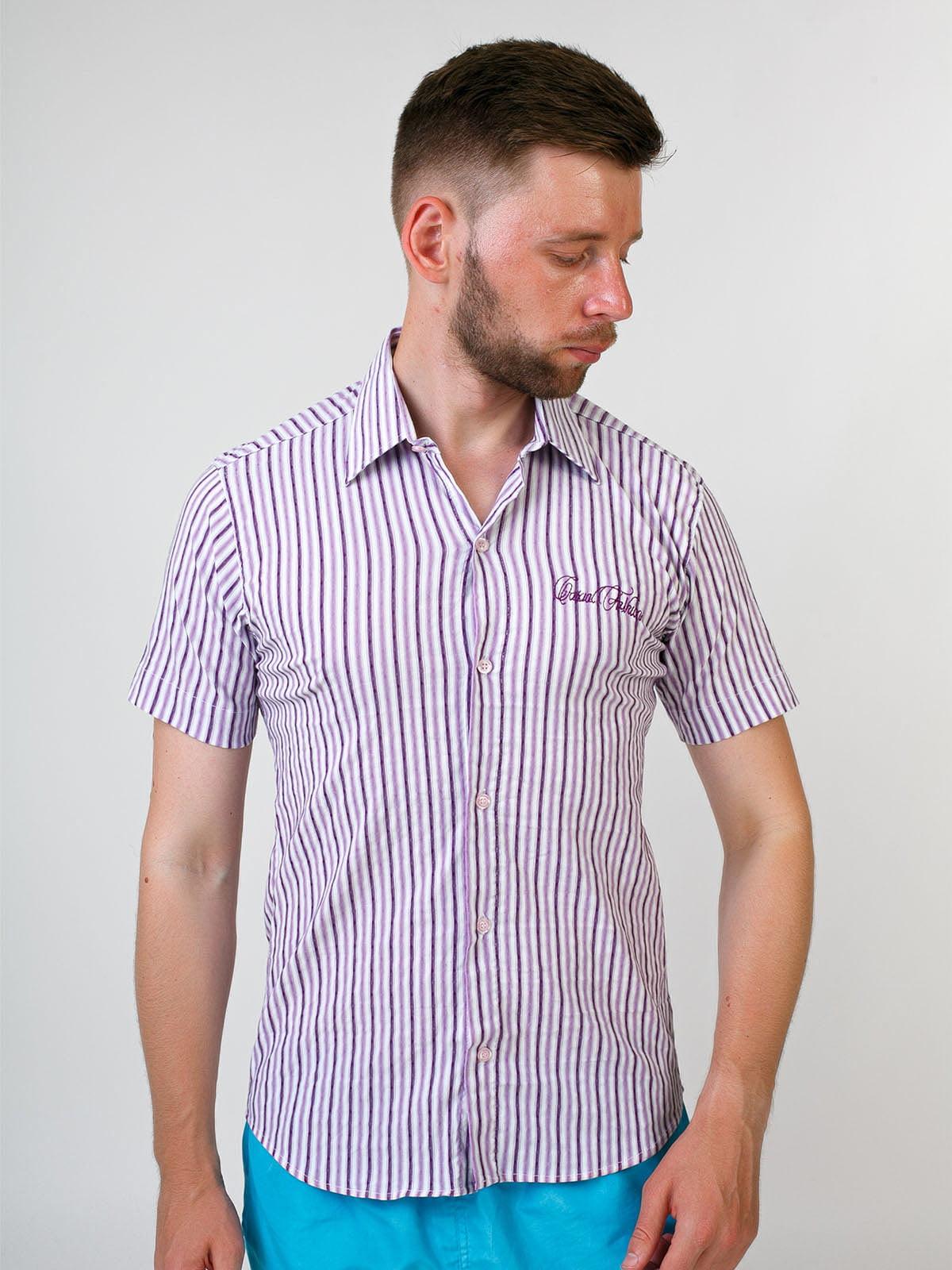 Сорочка бузкового кольору в смужку   5474696
