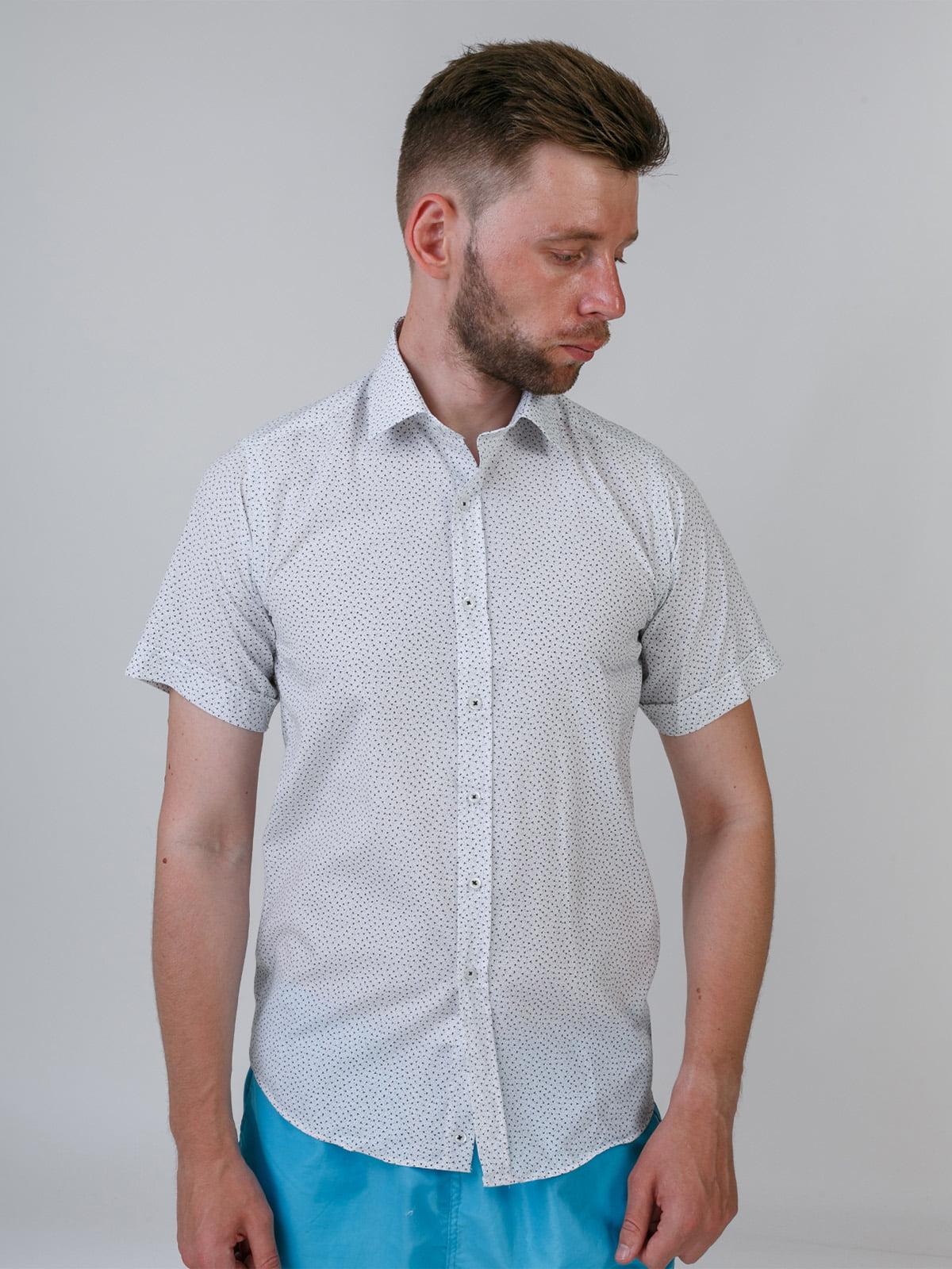 Рубашка белая в принт | 5464662