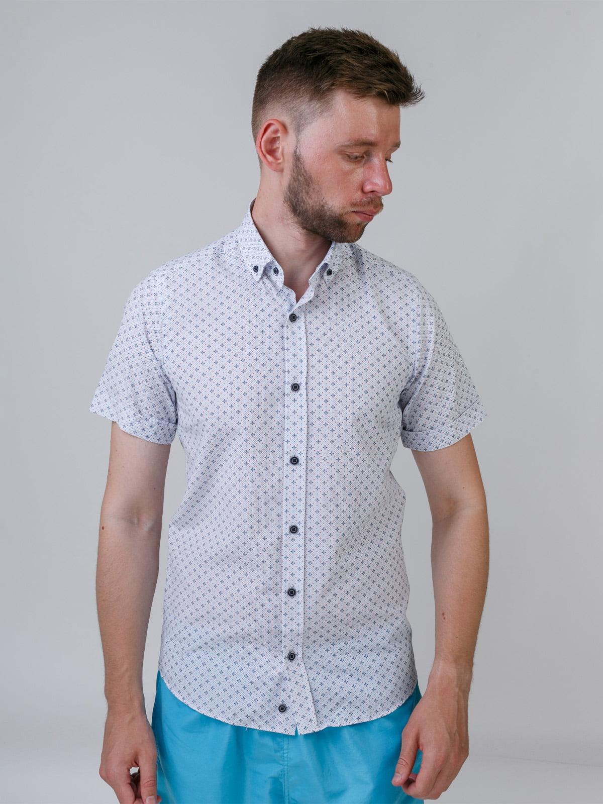 Рубашка белая в принт | 5464675