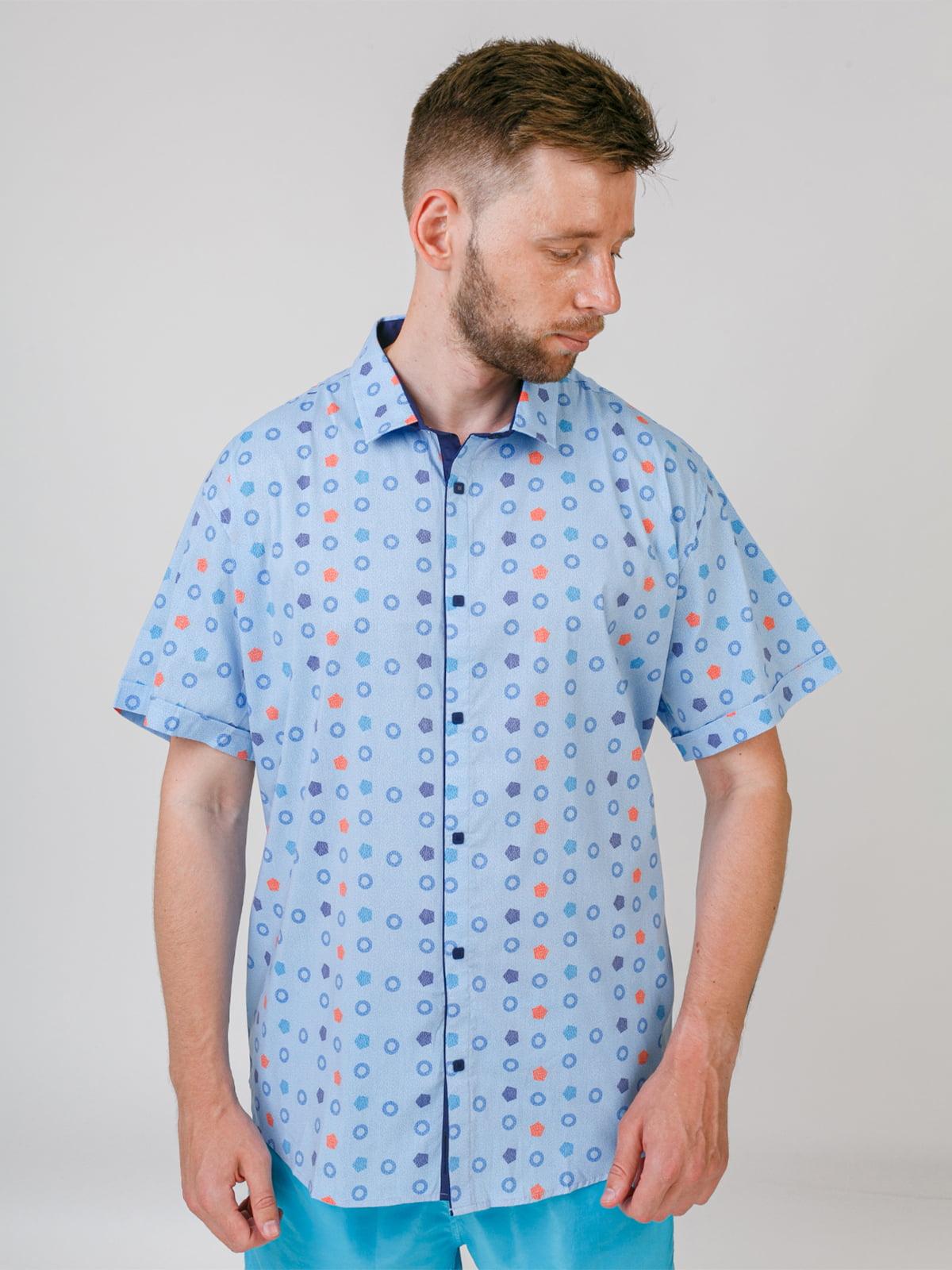 Рубашка голубая в принт | 5474633