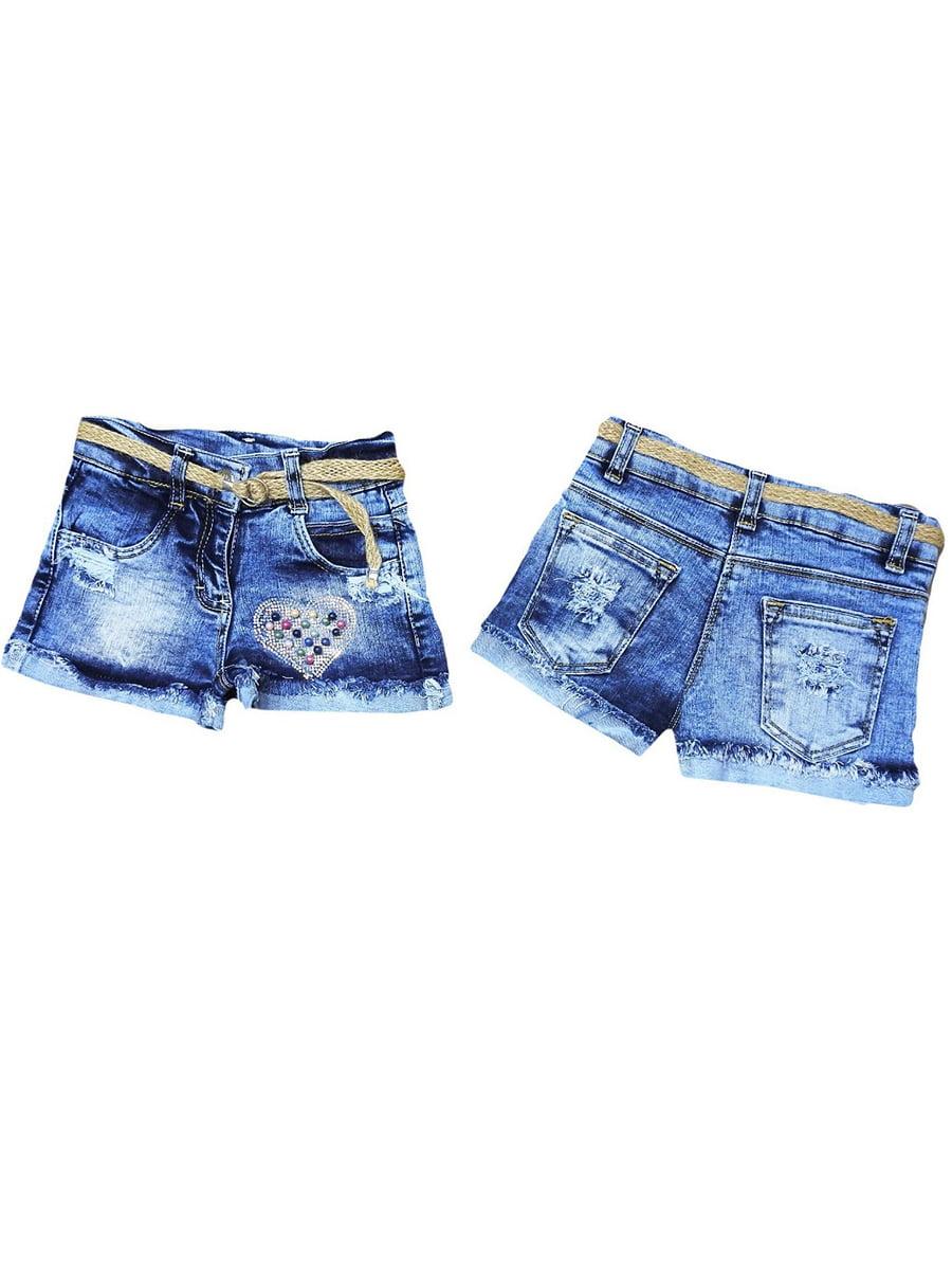 Шорты джинсовые синие с рисунком | 5483490