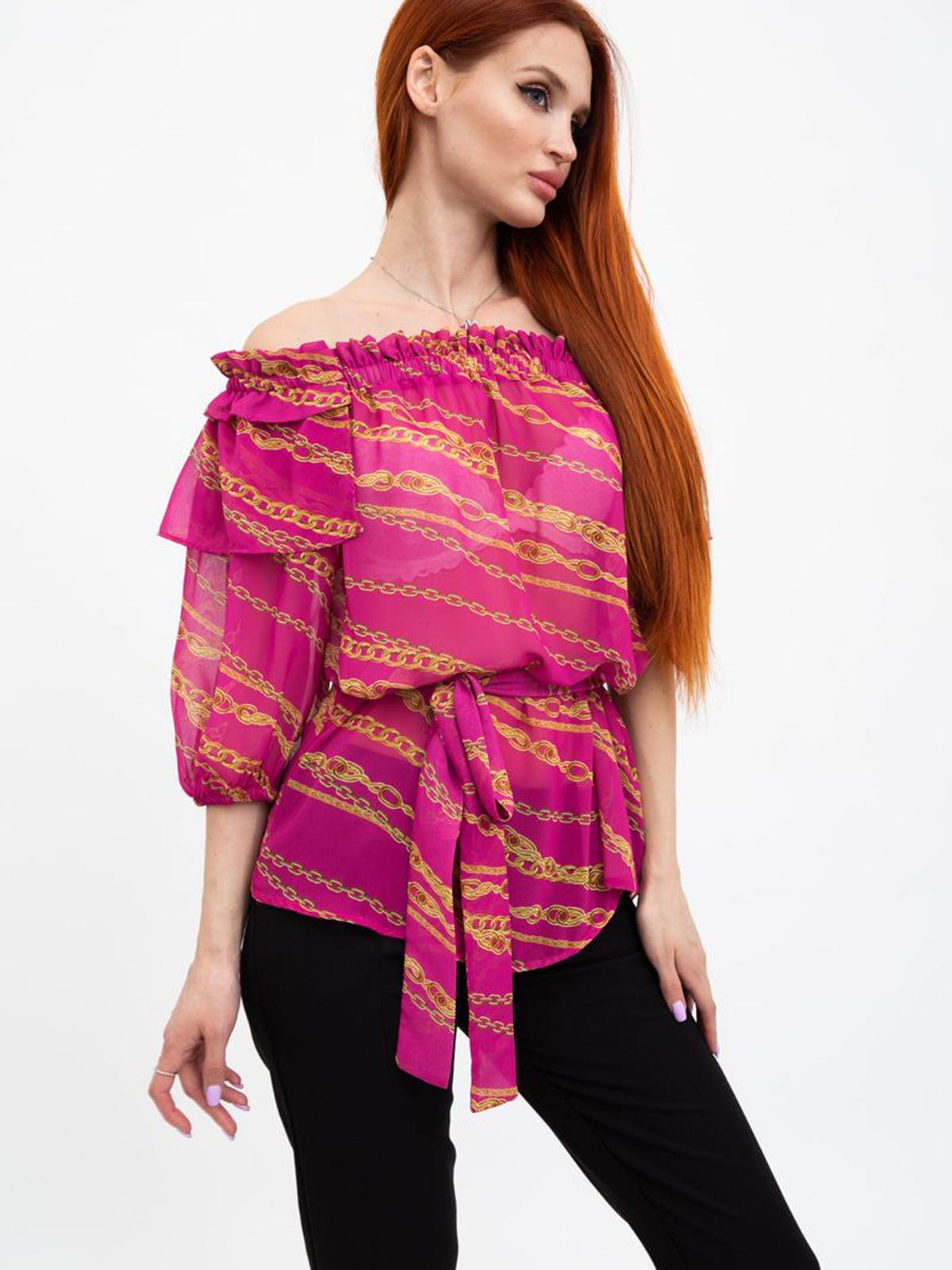 Блуза розовая в принт   5484273