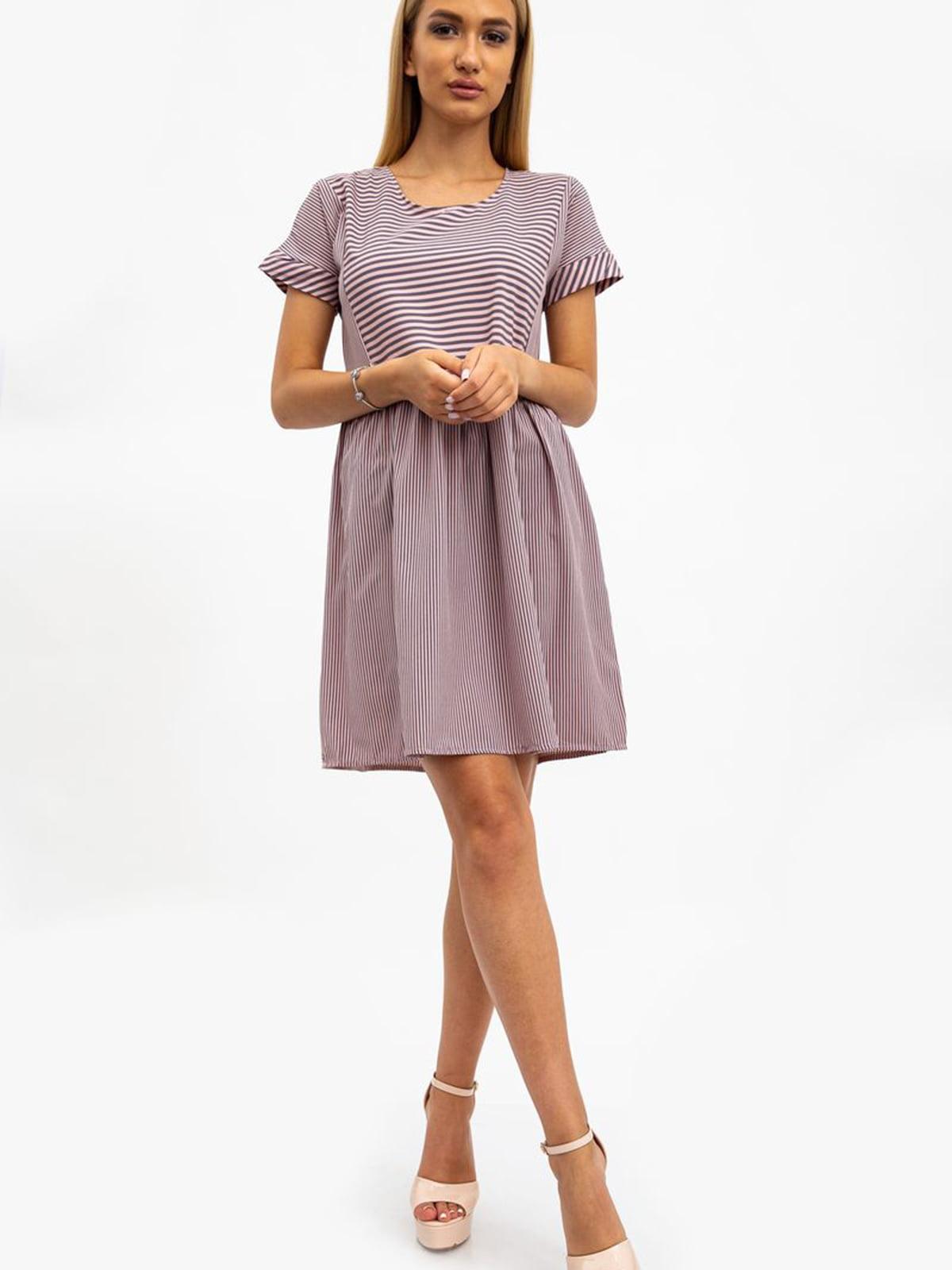 Платье цвета пудры в полоску | 5484476